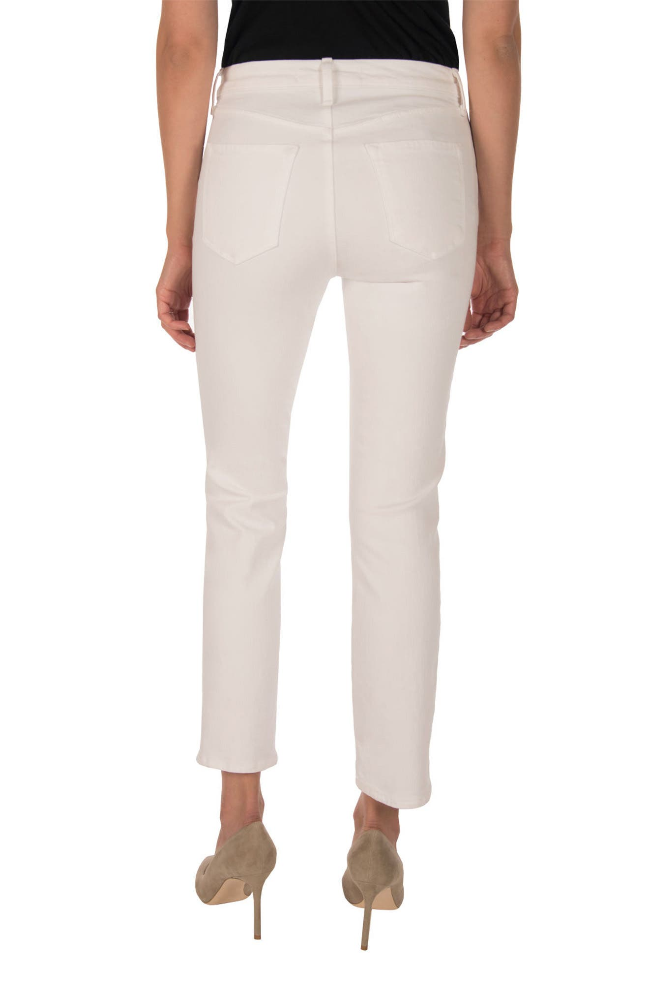 Ruby High Waist Crop Jeans,                             Alternate thumbnail 2, color,                             Blanc