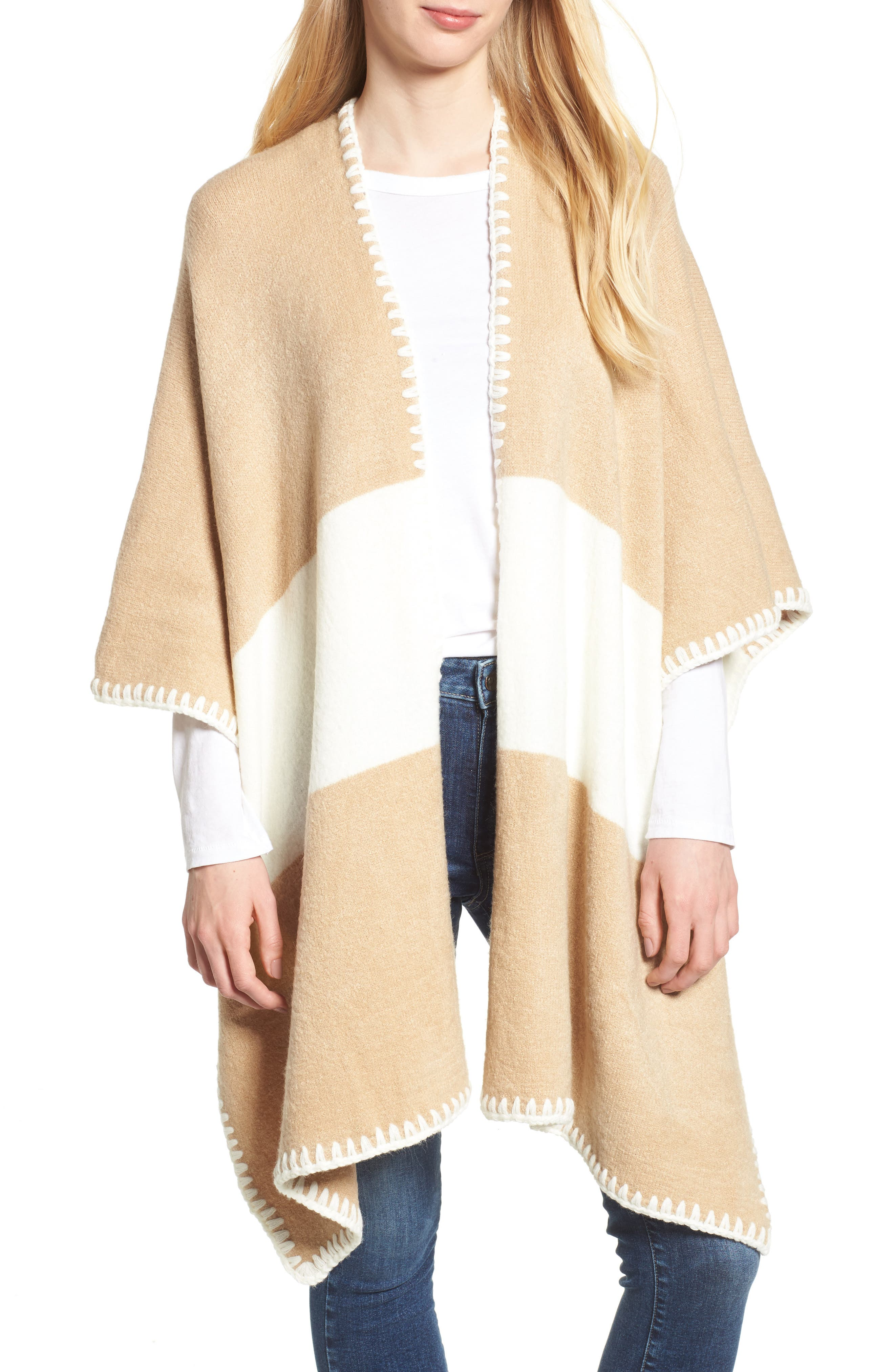 Bishop + Young Whipstitched Poncho,                             Main thumbnail 1, color,                             Camel