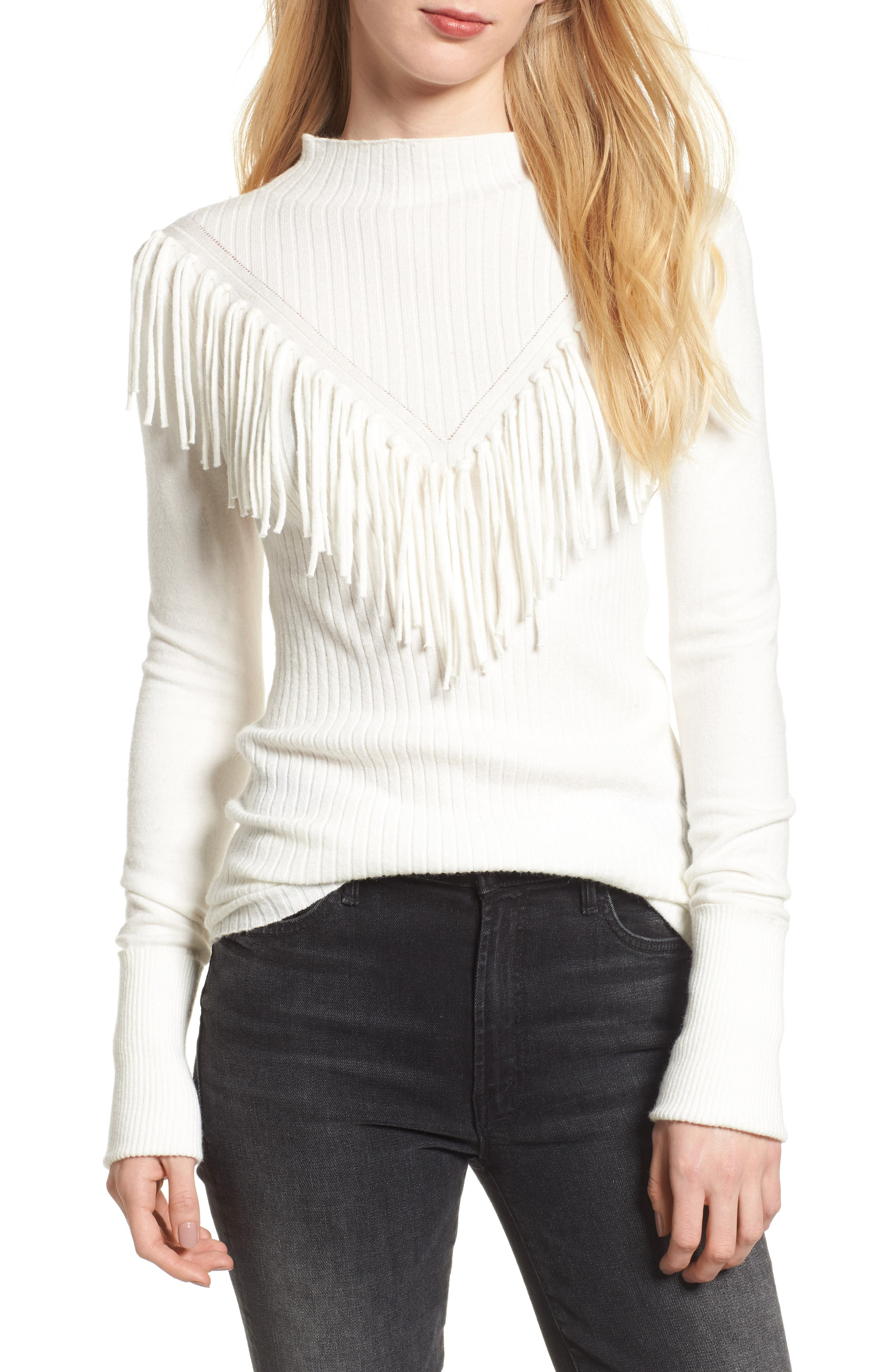 Bishop + Young Fringe Sweater,                         Main,                         color, Ivory