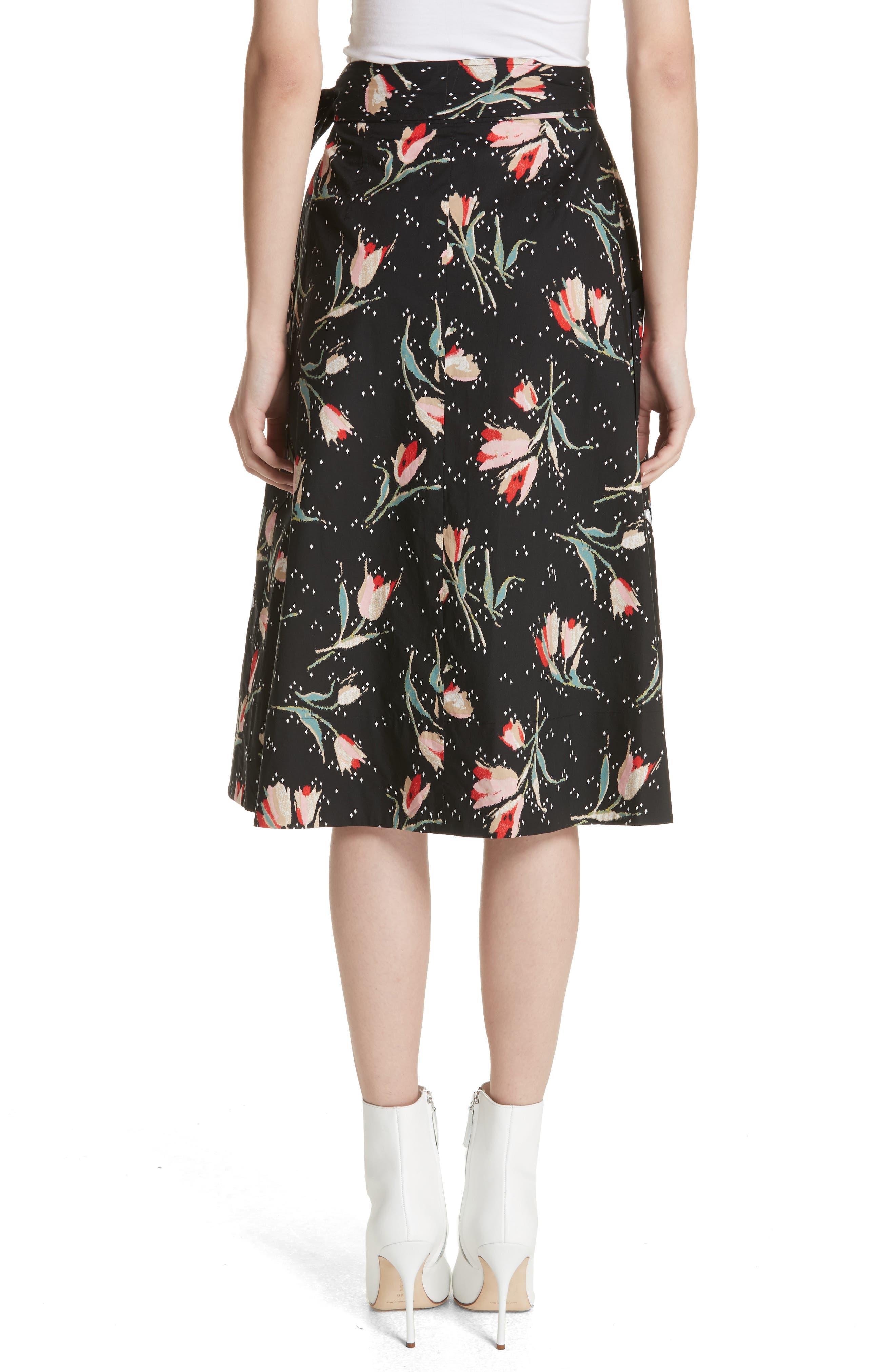 Floral Ikat Wrap Skirt,                             Alternate thumbnail 2, color,                             Black Combo