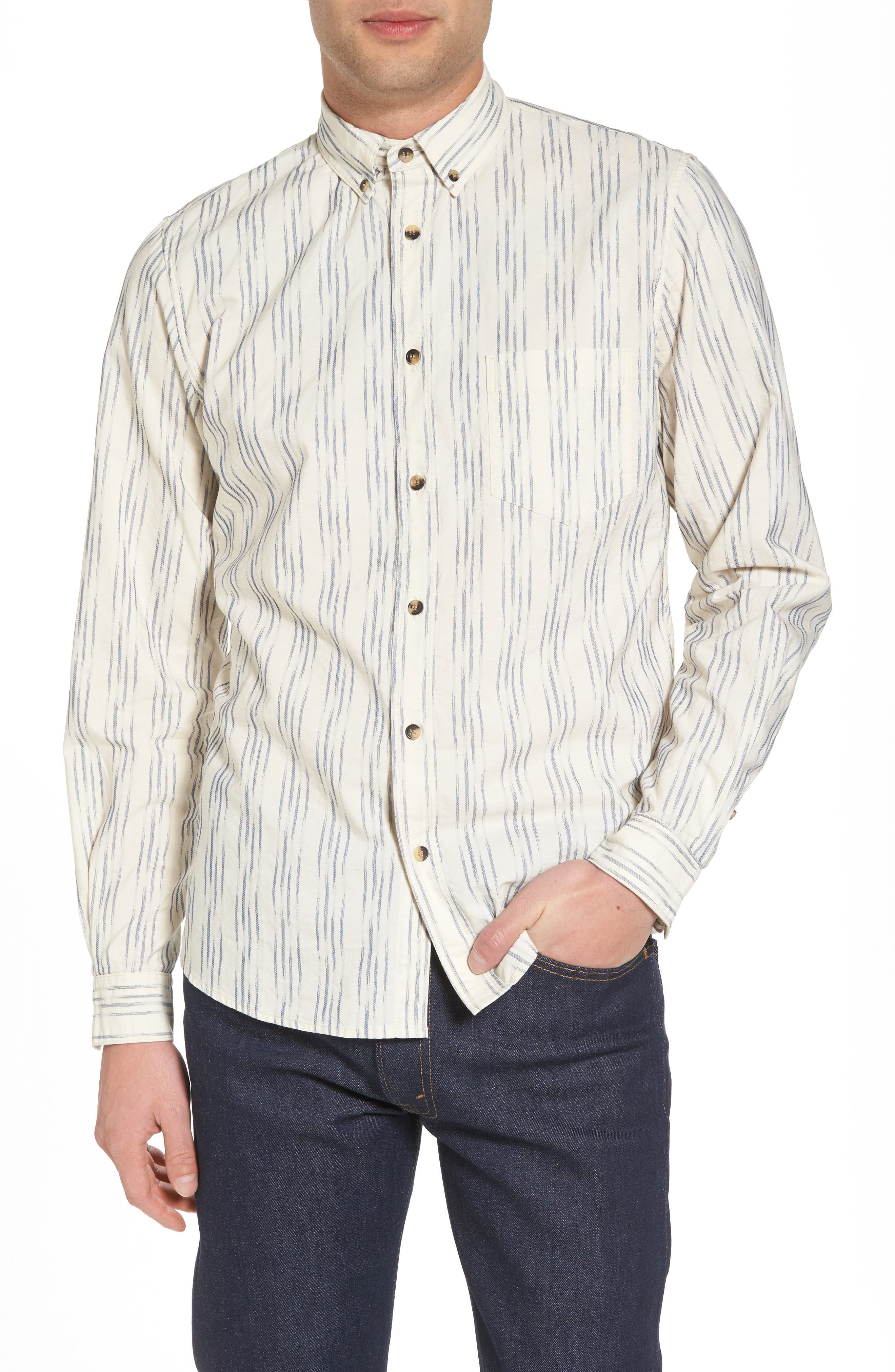 Regular Fit Sport Shirt,                             Main thumbnail 1, color,                             Ikat White/Blue