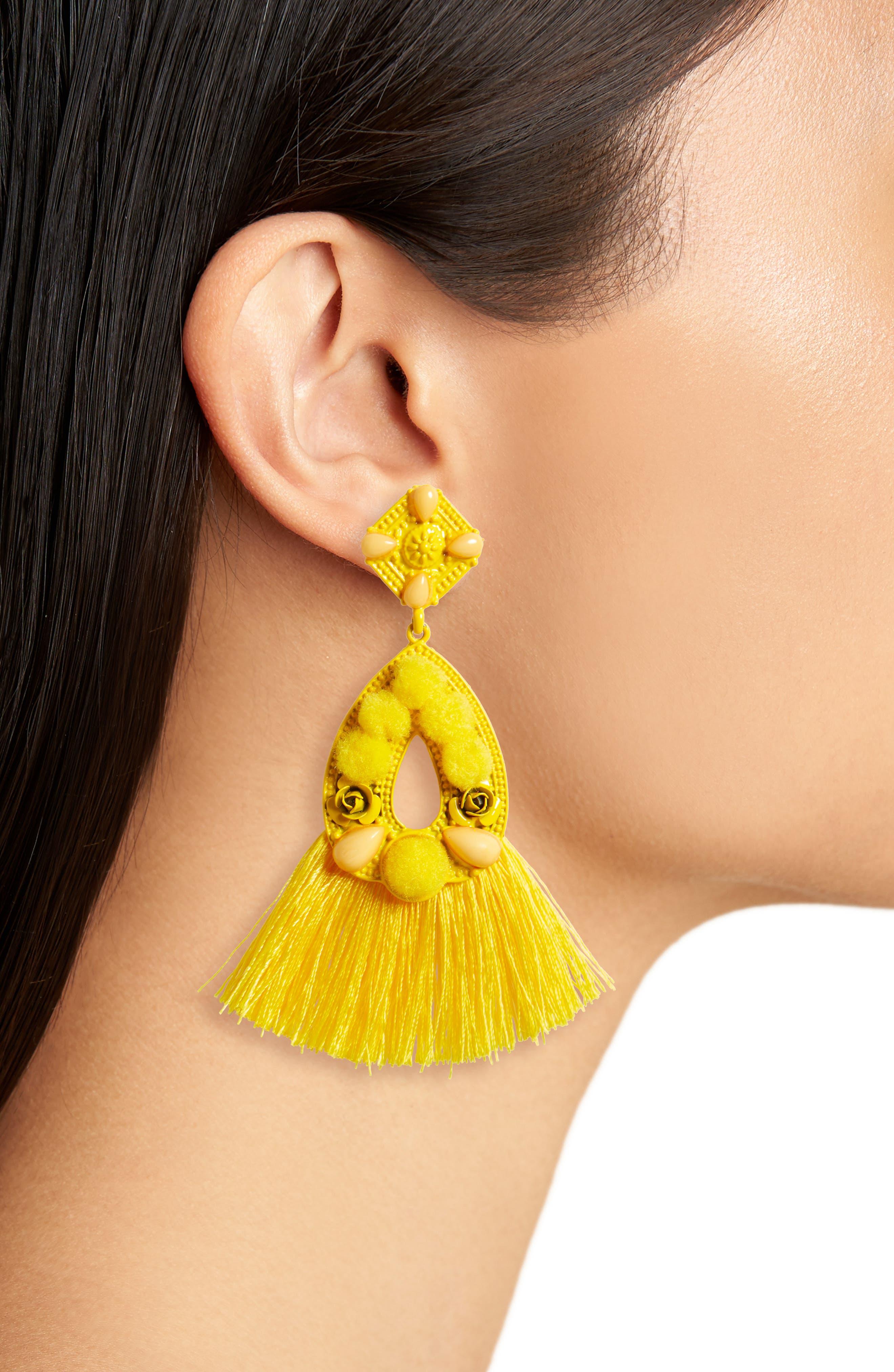 Pompom Tassel Earrings,                             Alternate thumbnail 2, color,                             Yellow