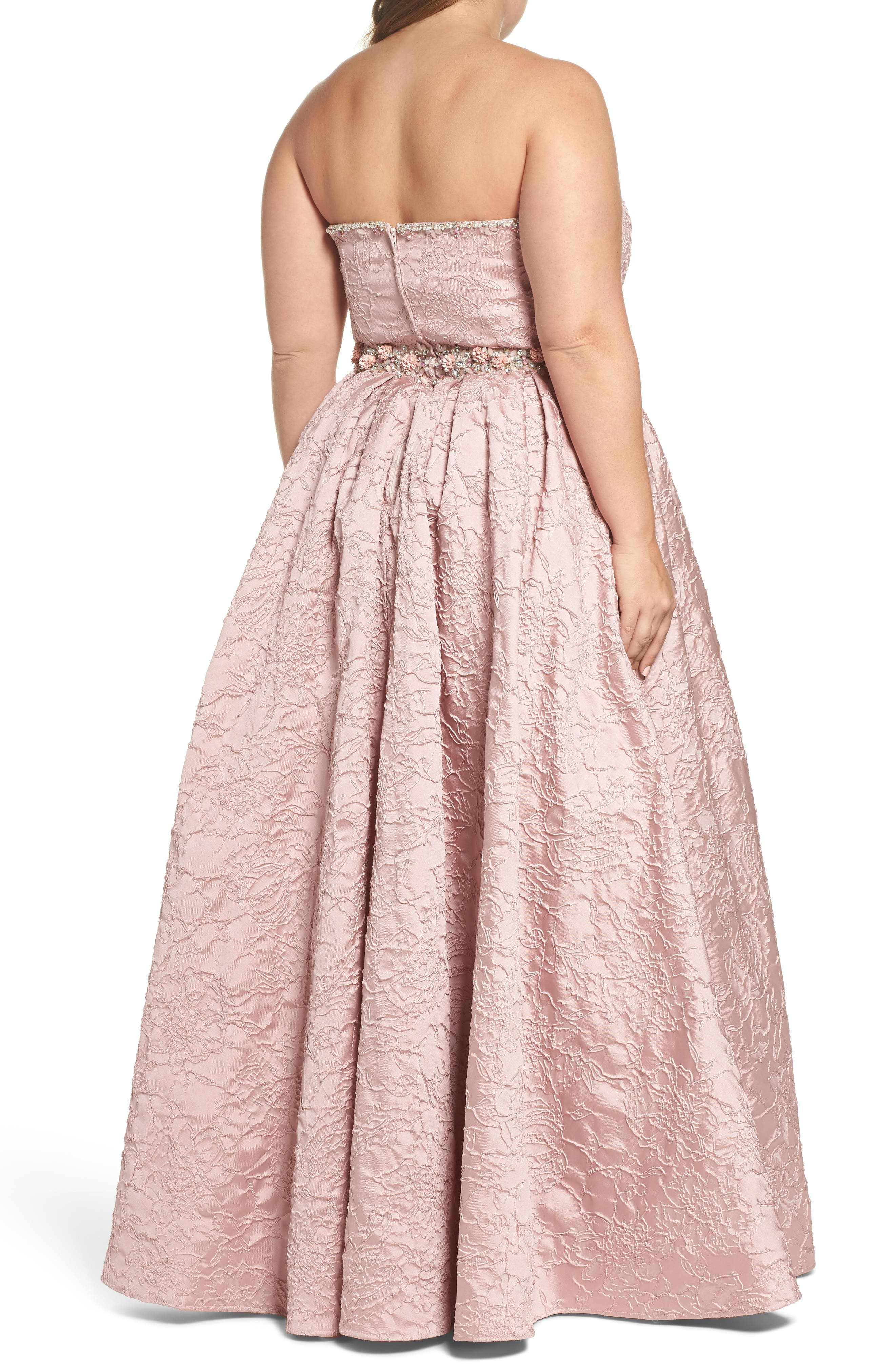 Bustier Strapless Flared Gown,                             Alternate thumbnail 2, color,                             Rose
