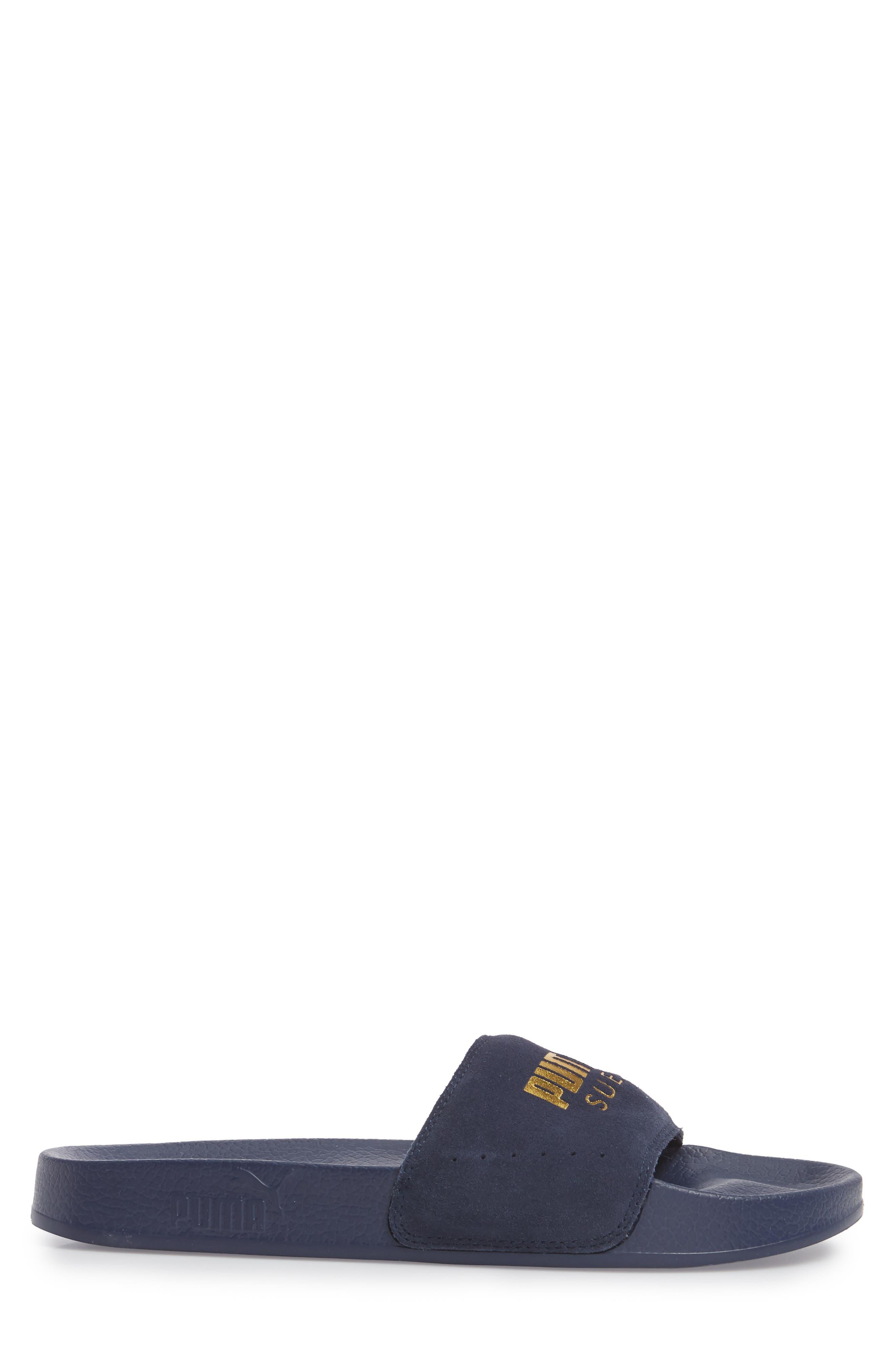 Leadcat Suede Slide Sandal,                             Alternate thumbnail 3, color,                             Peacoat/ Gold Leather/ Suede