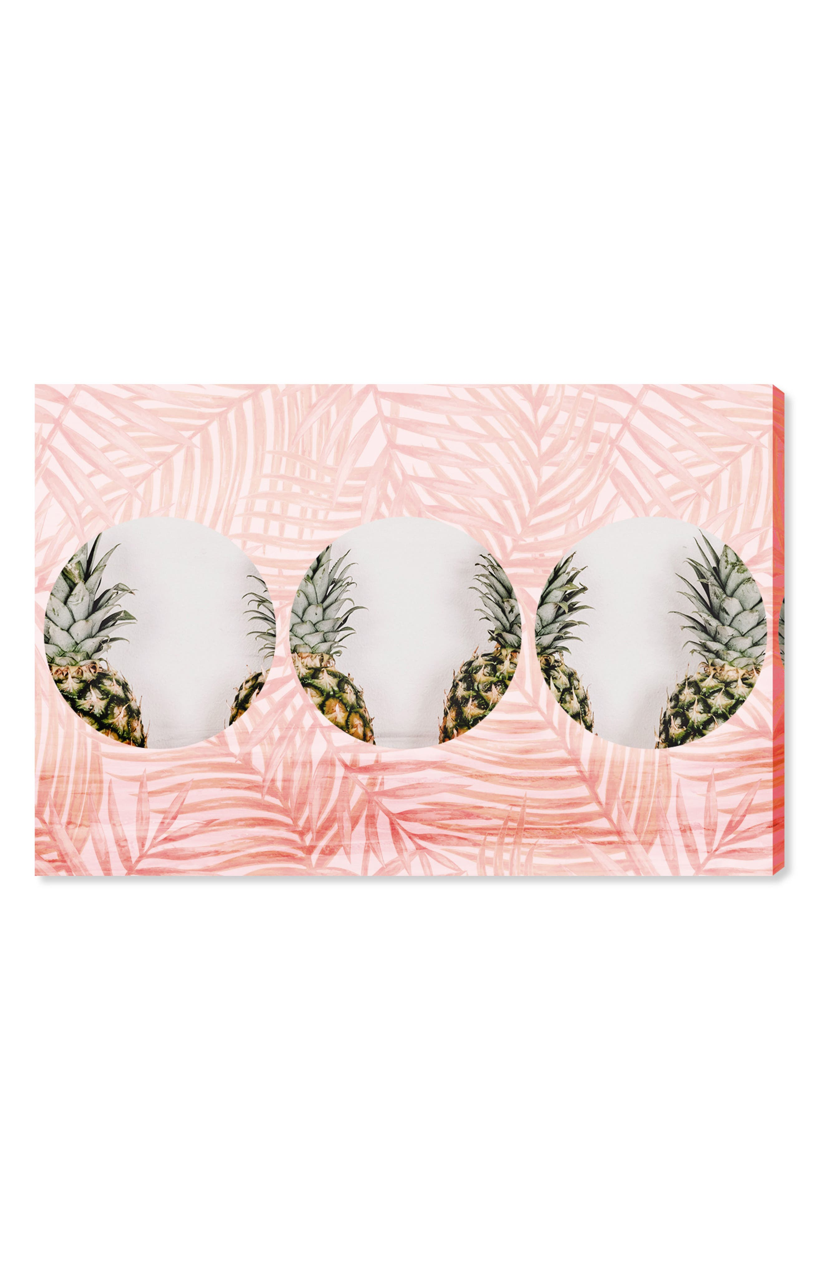 Pineapples & Leaves Canvas Wall Art,                         Main,                         color, Pink