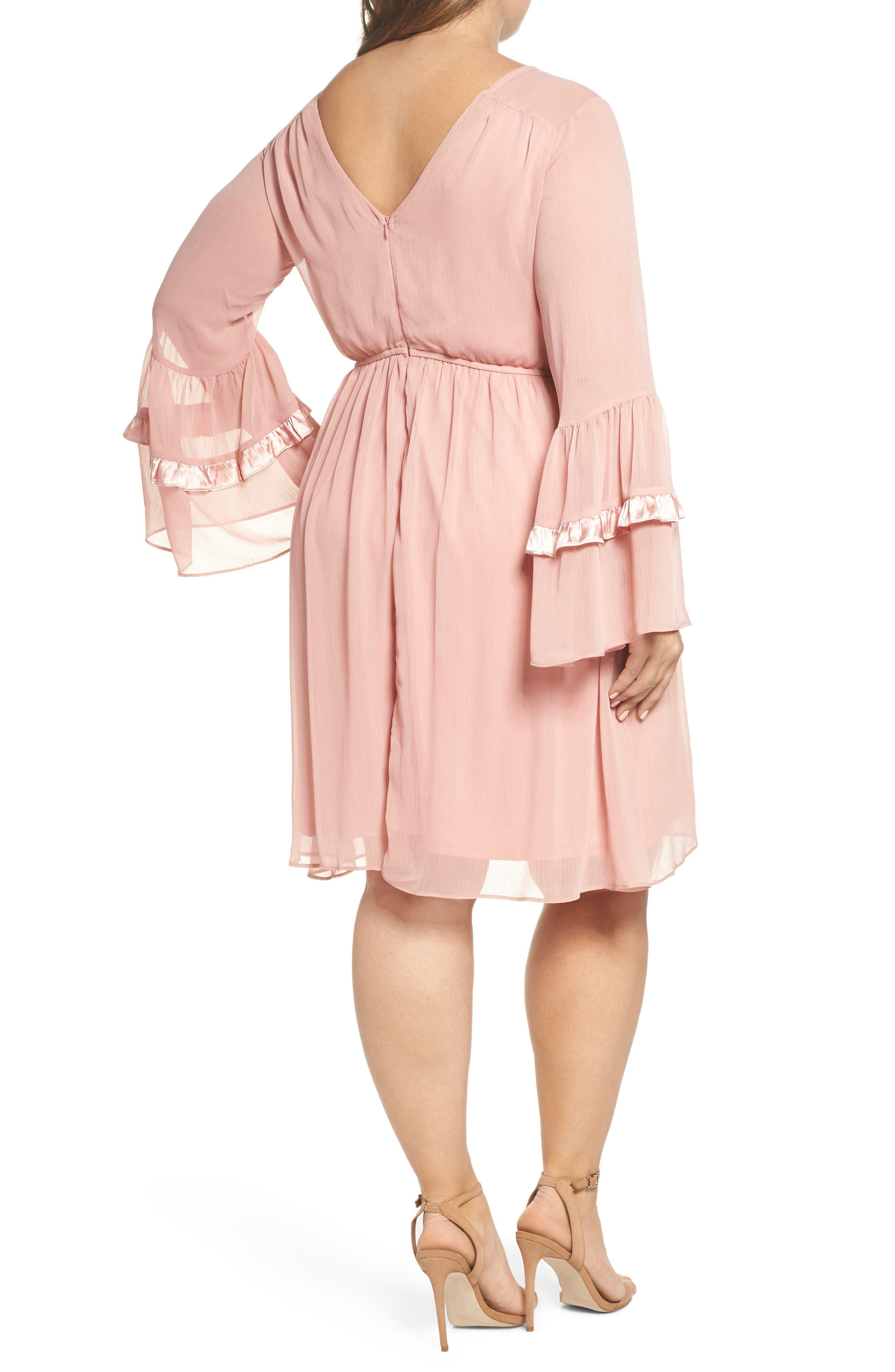 Satin Trim Crinkle Dress,                             Alternate thumbnail 2, color,                             Blush
