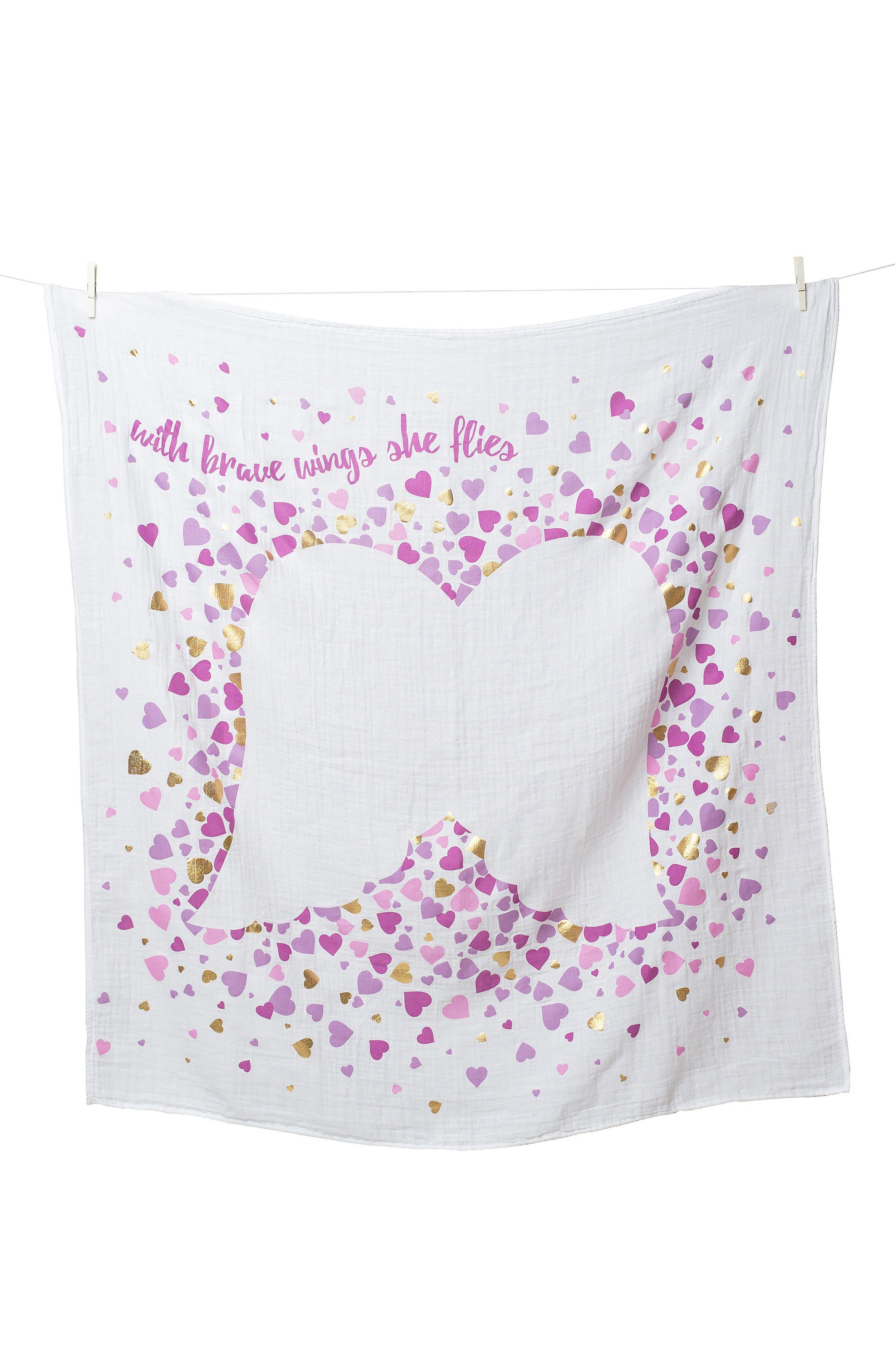 Lulujo Baby's First Year - With Brave Wings She Flies Muslin Blanket & Milestone Card Set (Baby Girls)