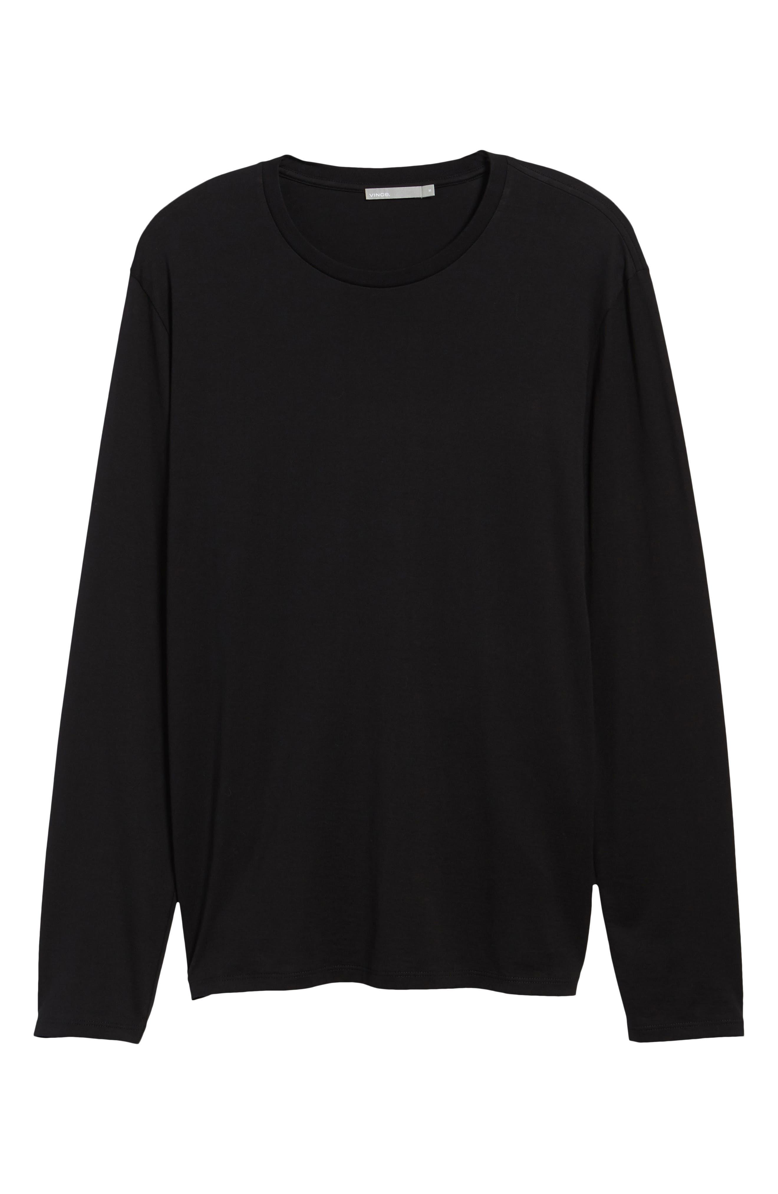 Drop Hem Crewneck T-Shirt,                             Alternate thumbnail 6, color,                             Black