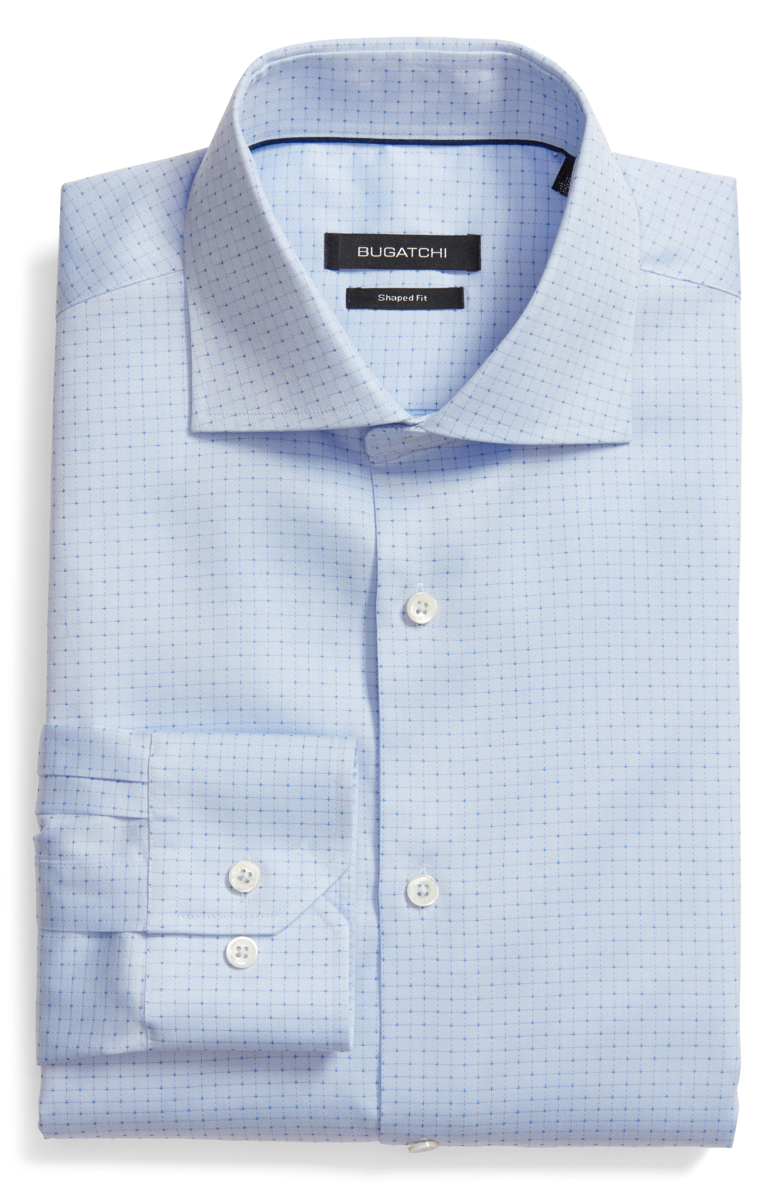 Shaped Fit Pattern Dress Shirt,                             Main thumbnail 1, color,                             Sky