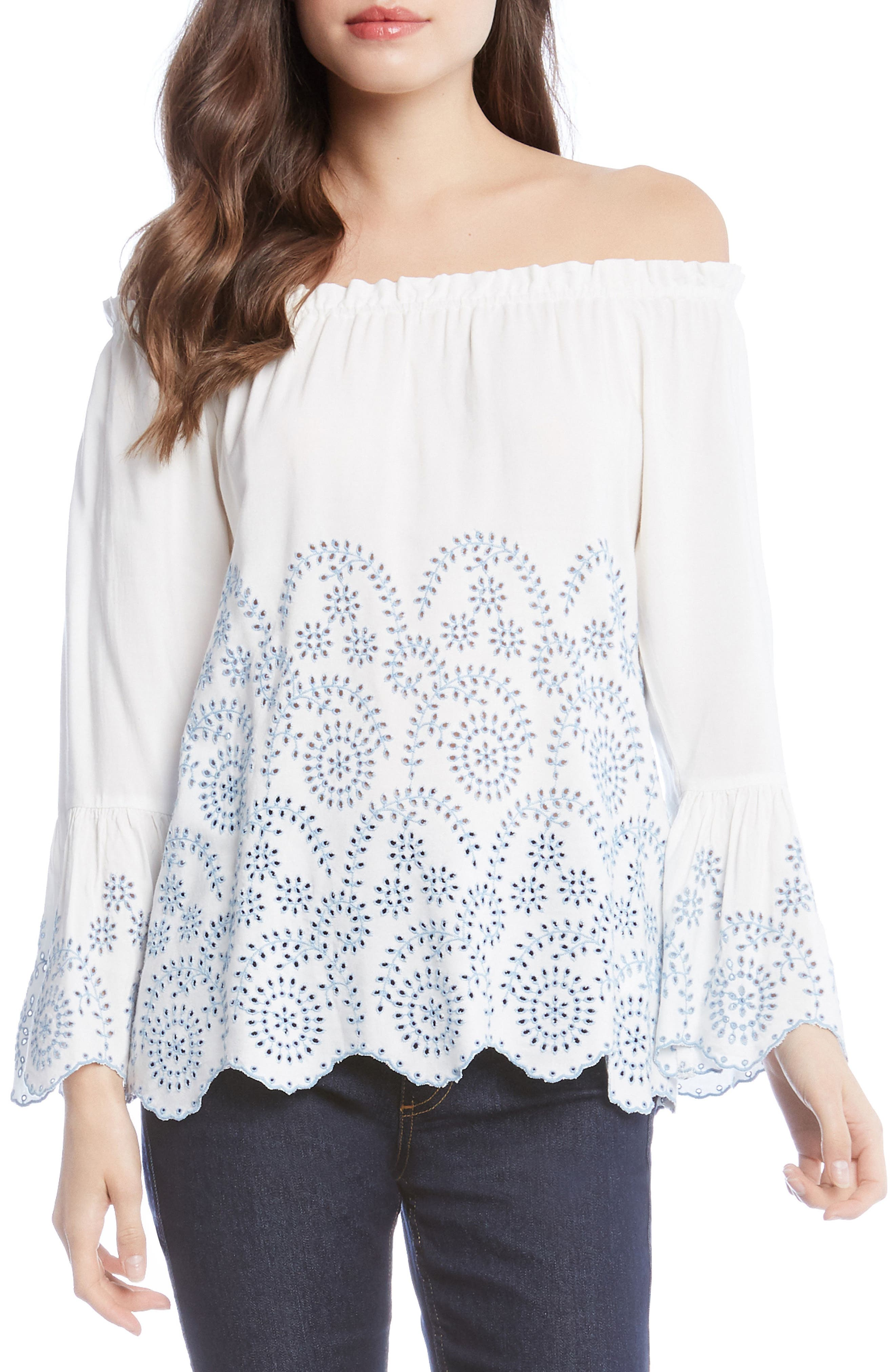 Convertible Off the Shoulder Eyelet Top,                         Main,                         color, Off White