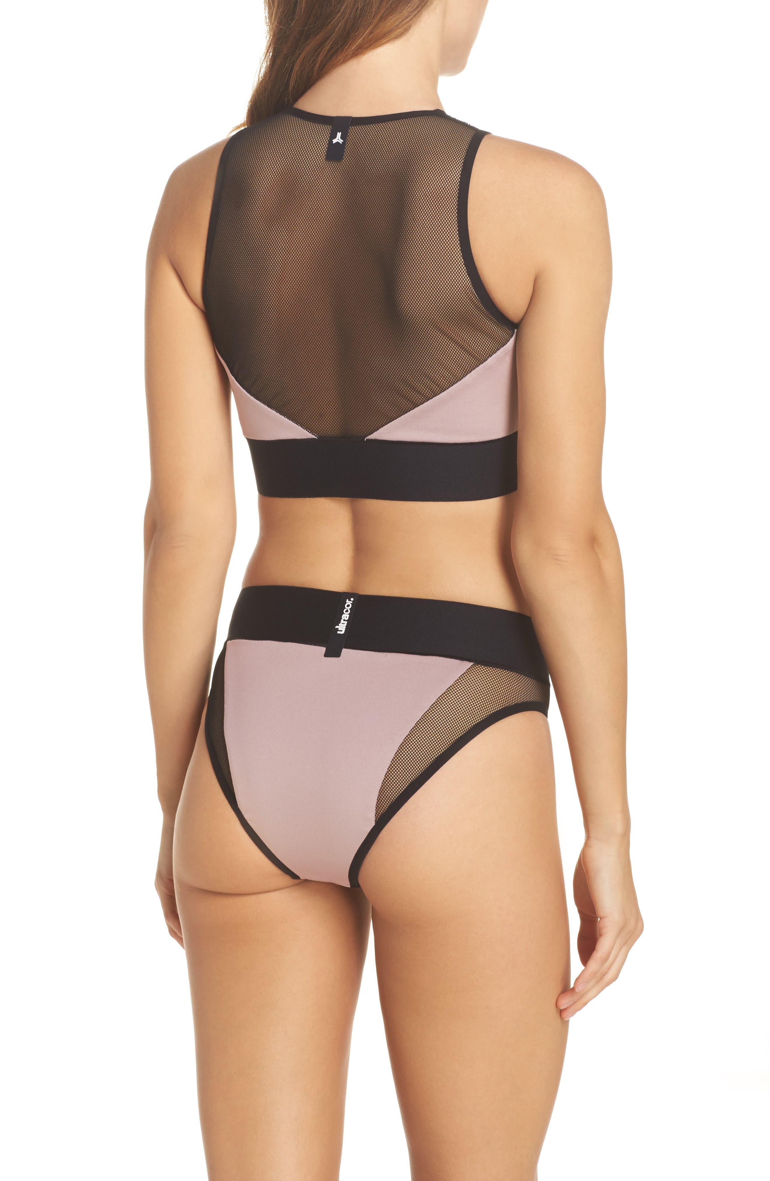 Adrift Sport Mesh Bikini Top,                             Alternate thumbnail 6, color,                             Blush Pink
