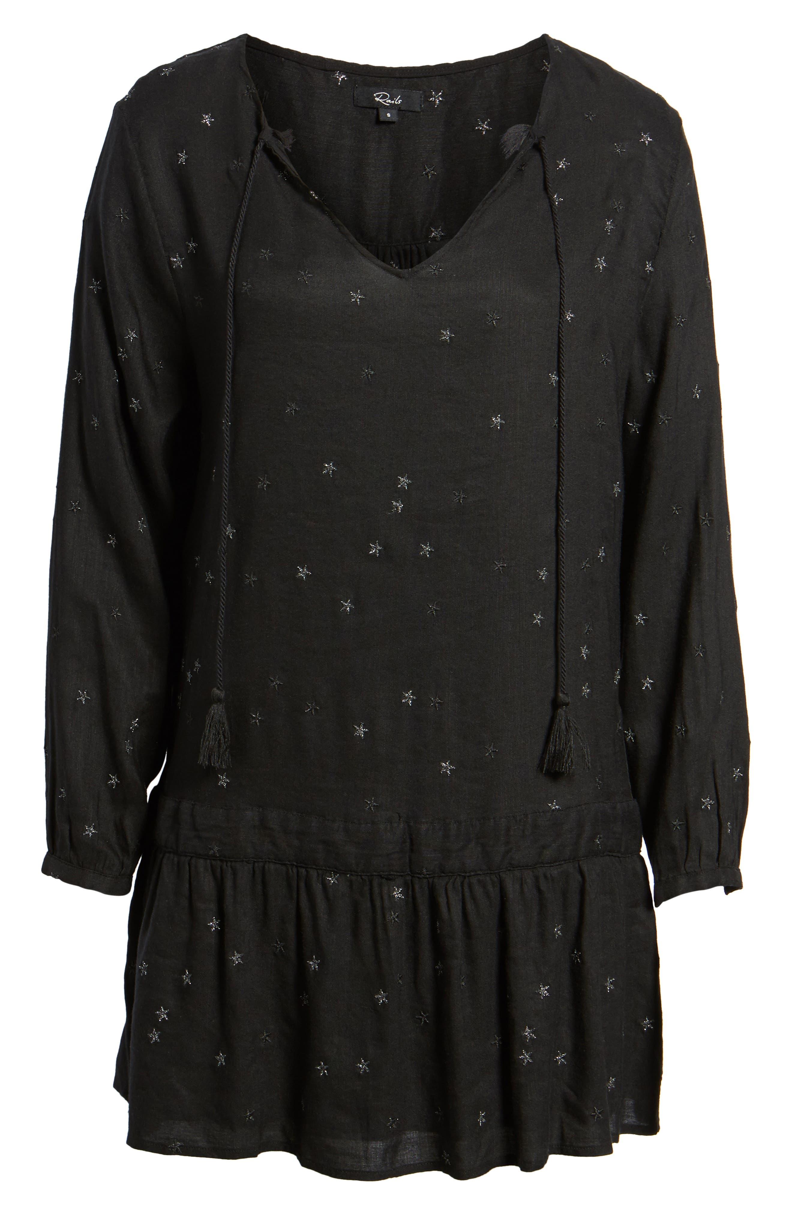 Lydia Shift Dress,                             Alternate thumbnail 6, color,                             Black With Stars