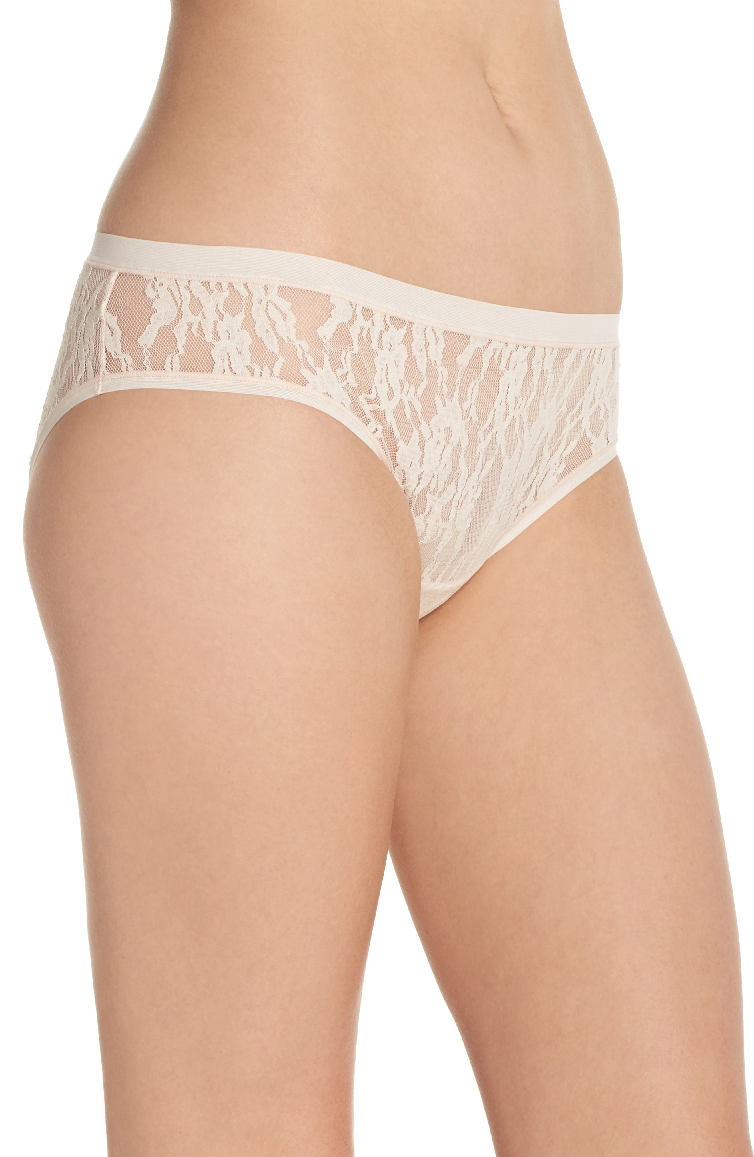 Bliss Desire Lace Hipster Briefs,                             Alternate thumbnail 3, color,                             Cashmere