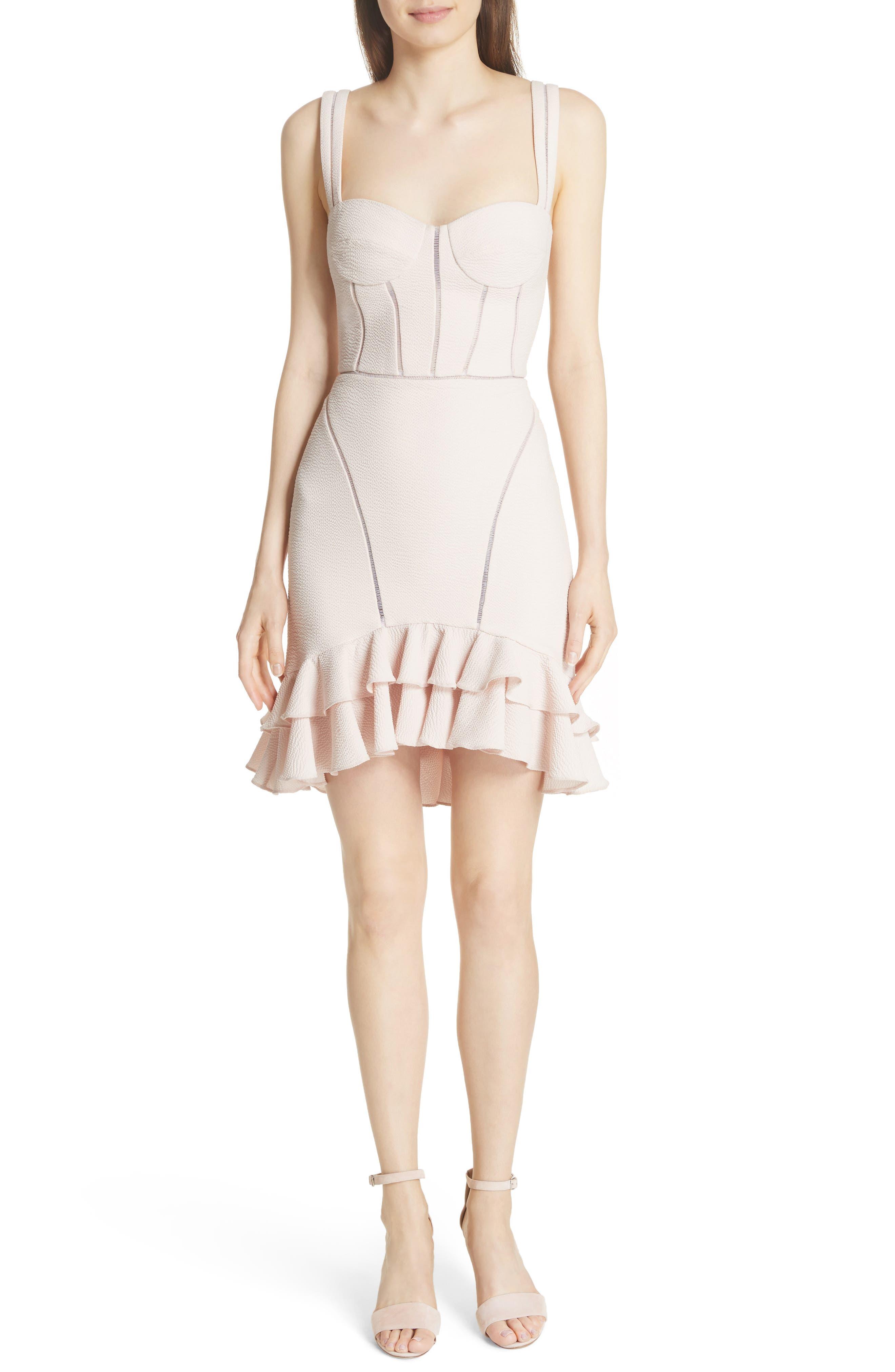 Seersucker Bustier Dress,                         Main,                         color, Powder Pink