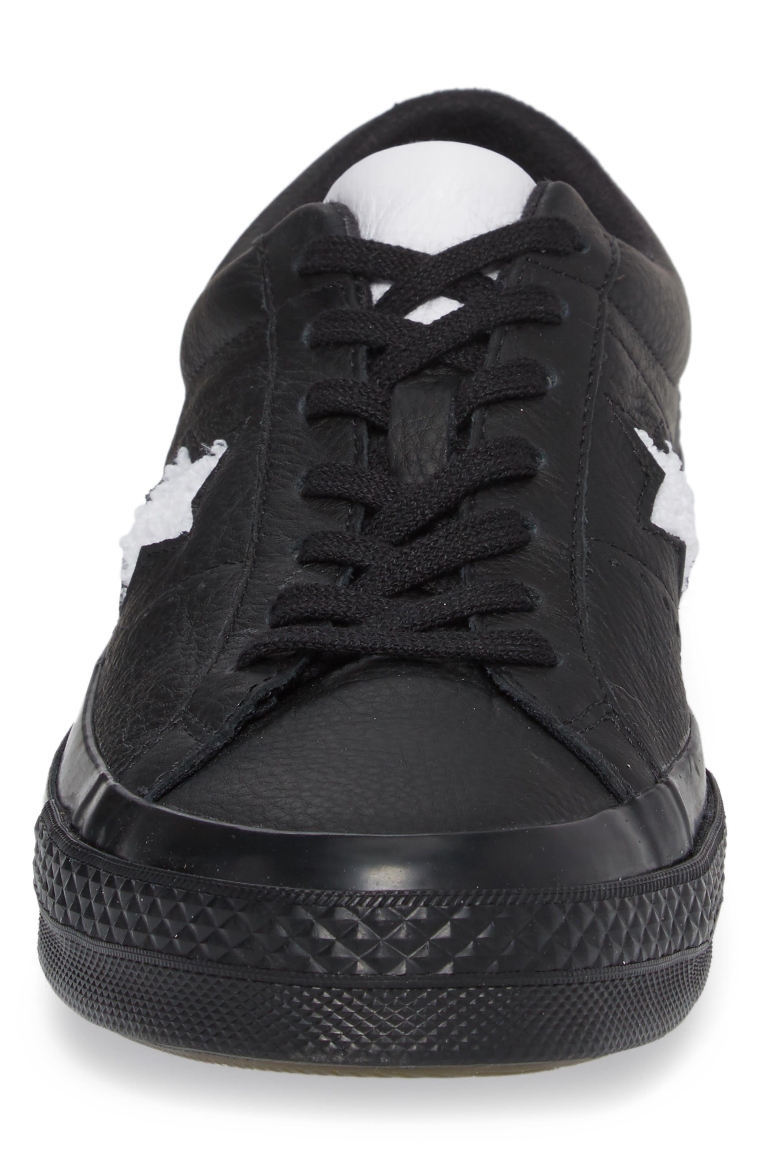 Chuck Taylor<sup>®</sup> One Star Pinstripe Sneaker,                             Alternate thumbnail 4, color,                             Black Leather