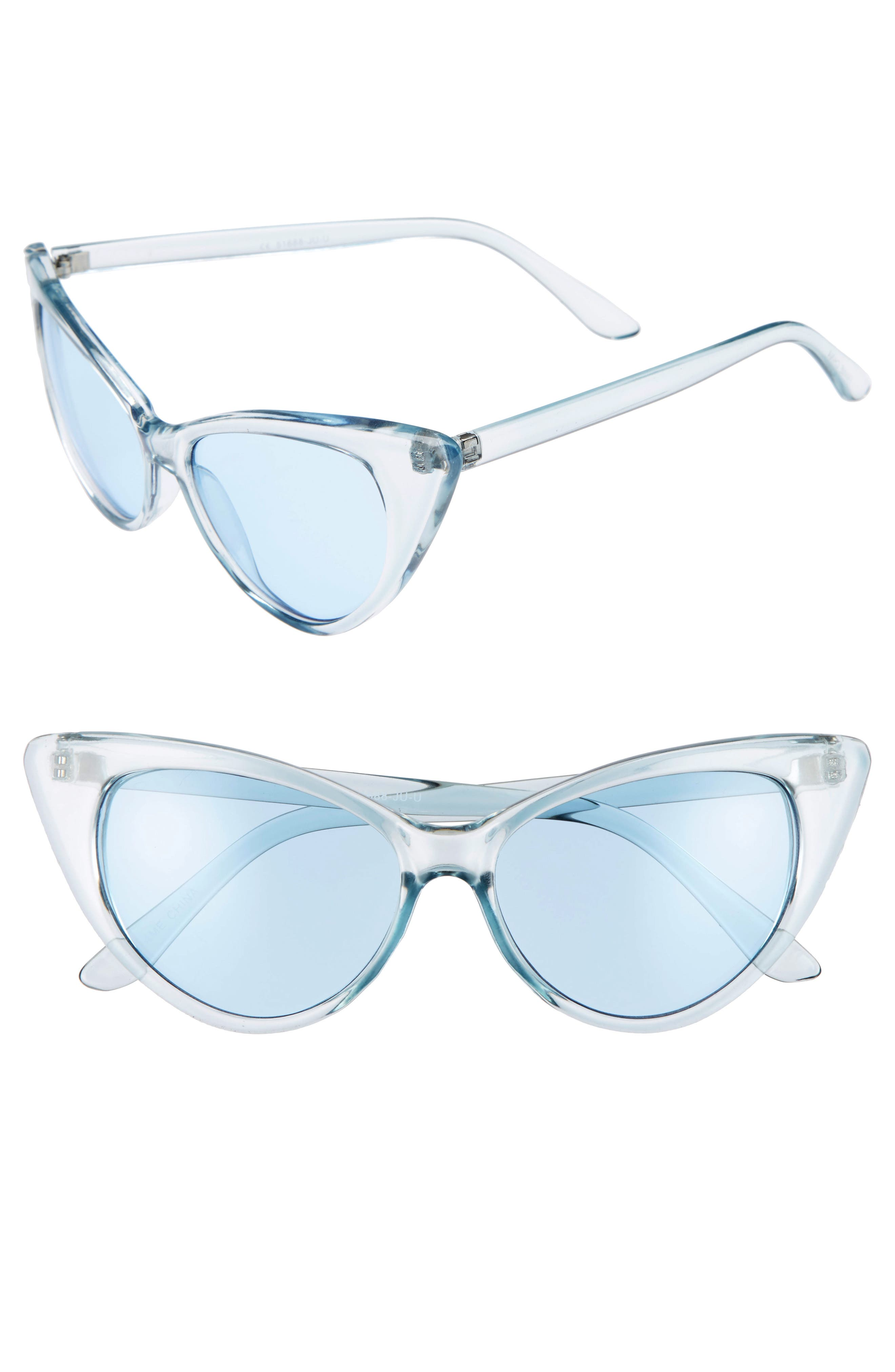 Glance Eyewear 55mm Transparent Pastel Cat Eye Sunglasses