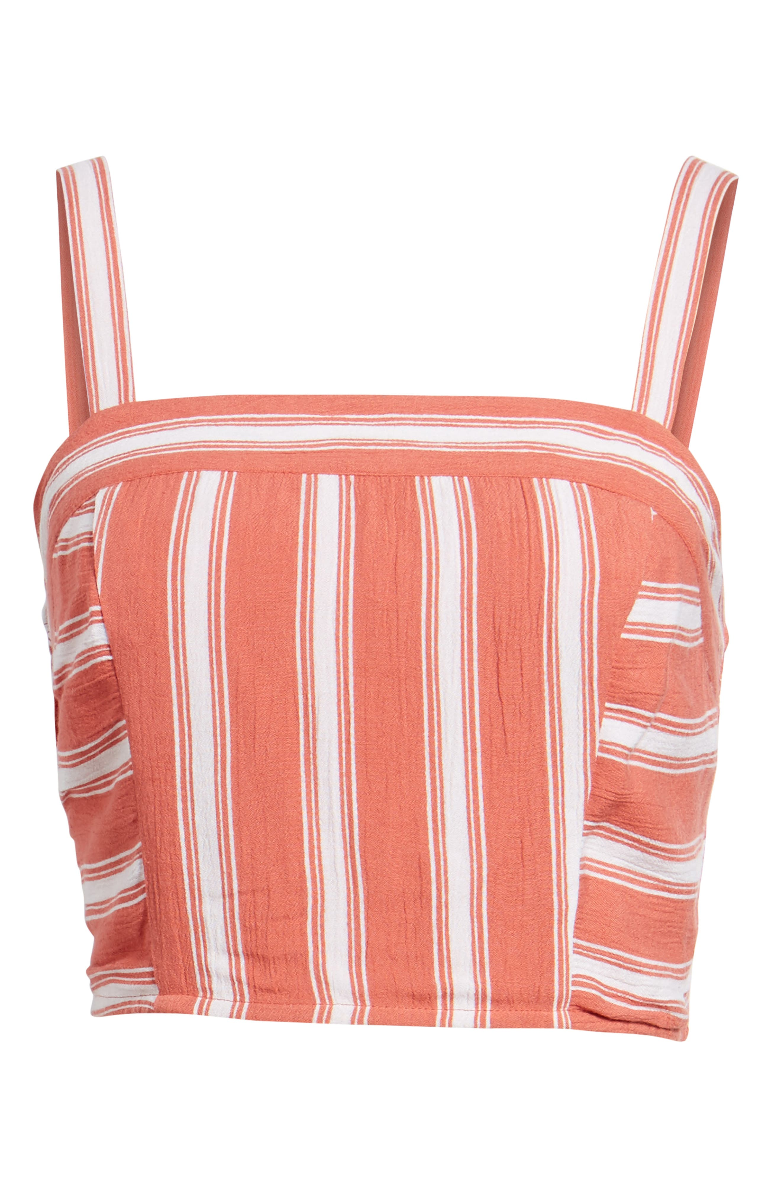 Stripe Smocked Crop Top,                             Alternate thumbnail 7, color,                             Dusty Coral/ Ivory