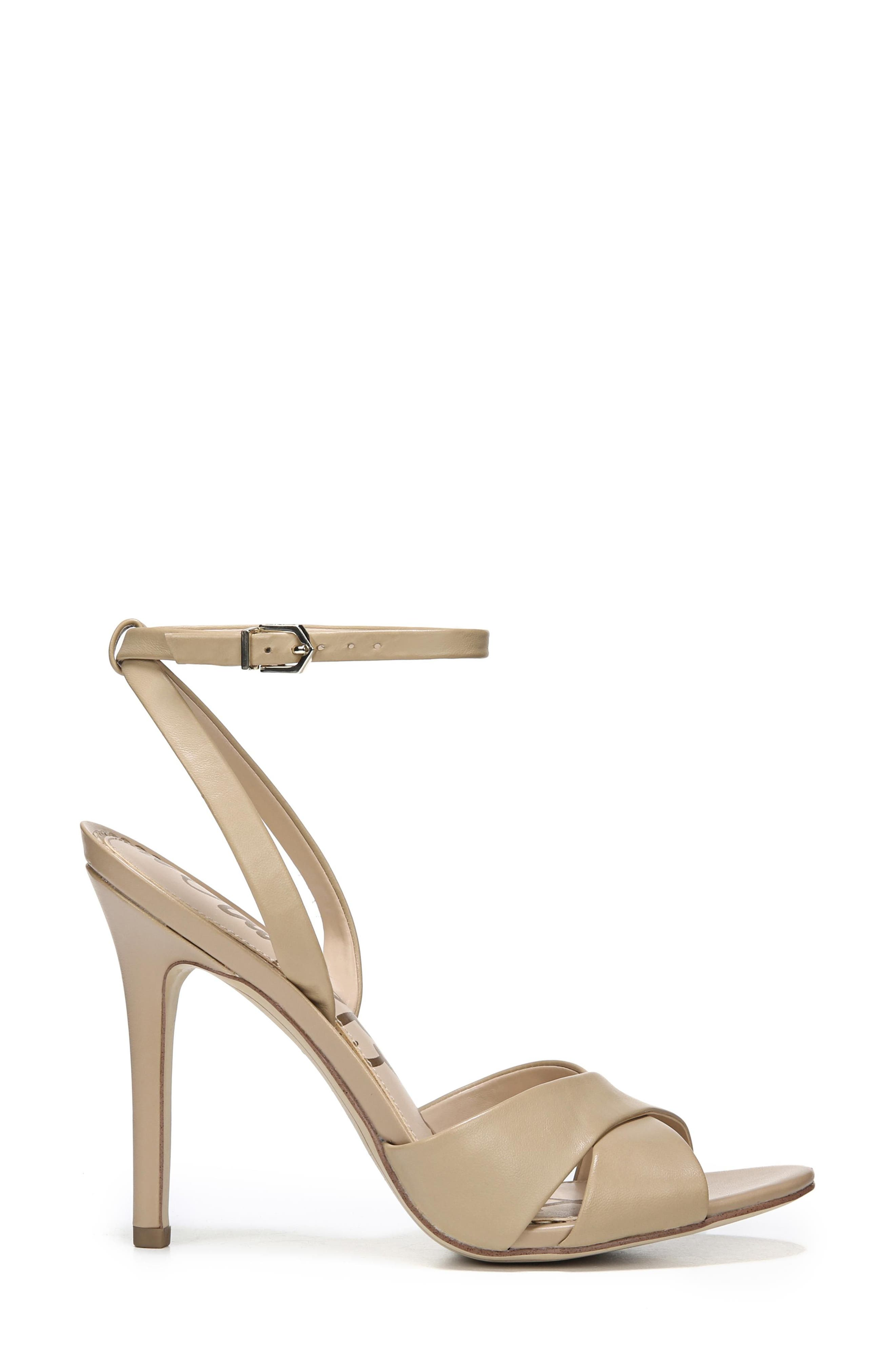Aly Ankle Strap Sandal,                             Alternate thumbnail 3, color,                             Classic Nude Leather