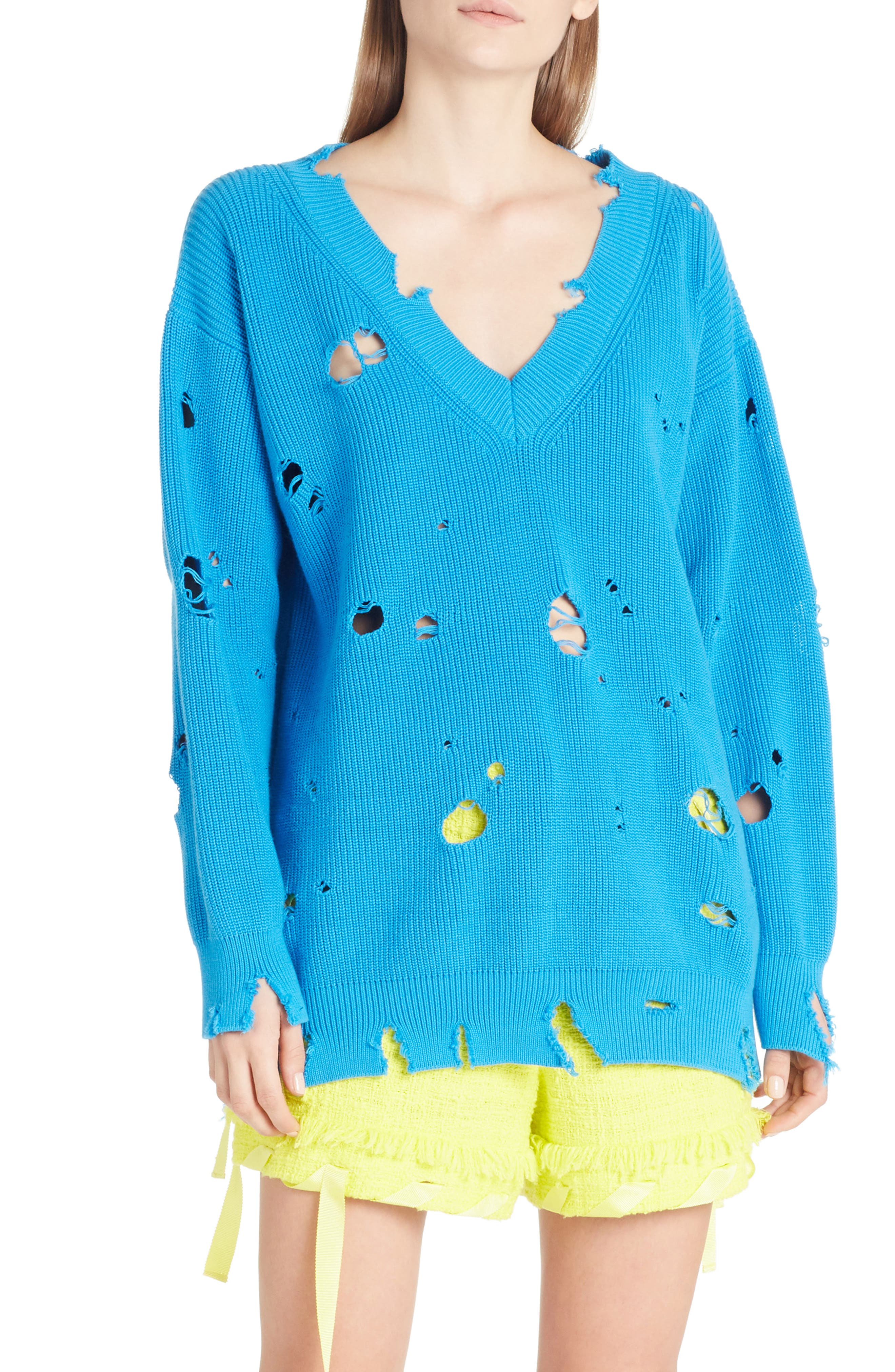 Destroyed Sweater,                             Main thumbnail 1, color,                             Blue