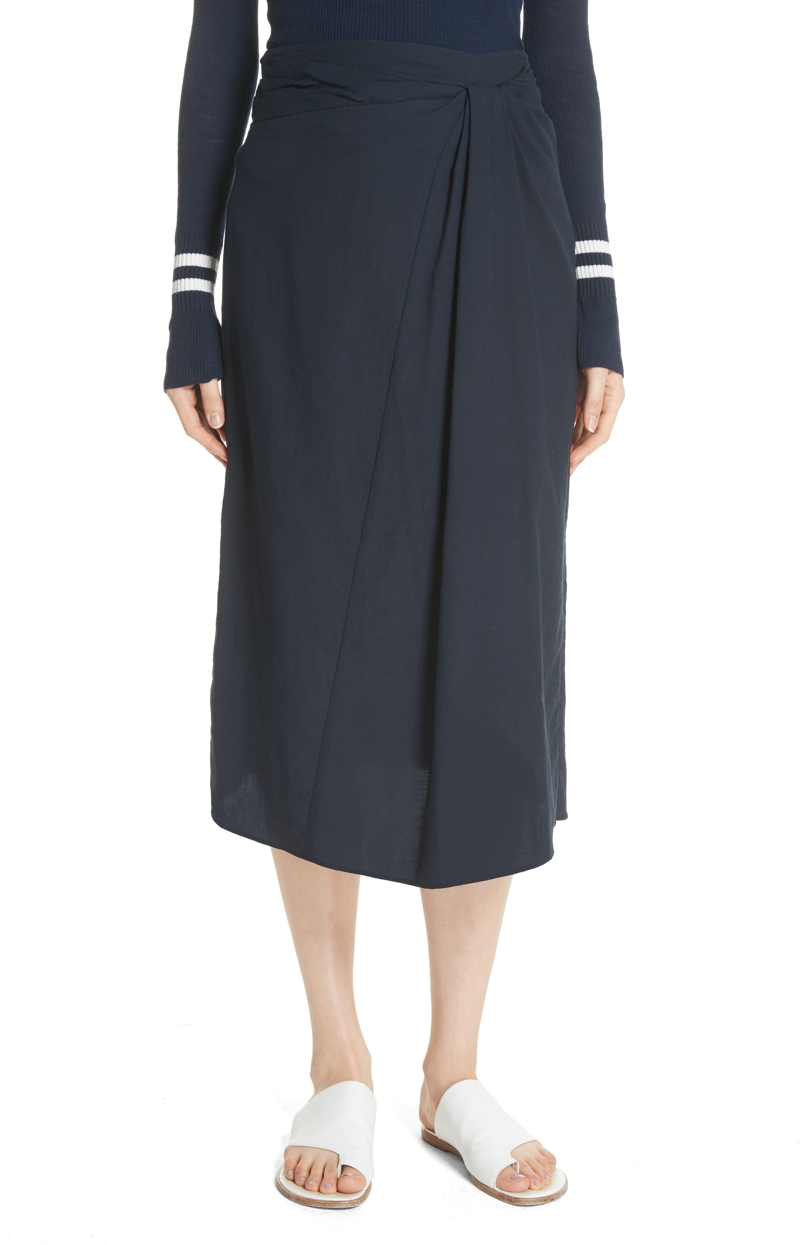 Vince Twist Detail Cotton Skirt