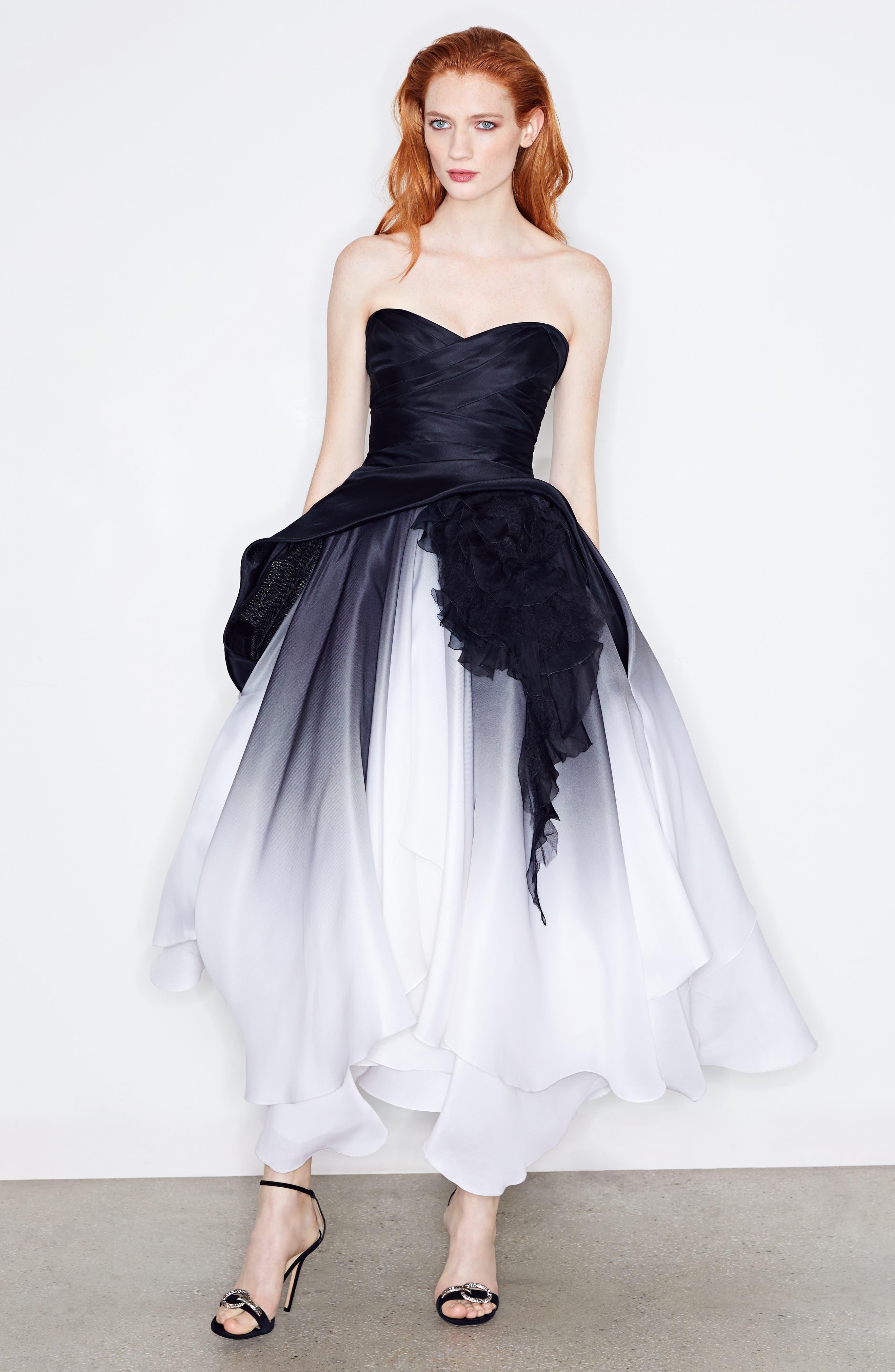 Ombré Strapless Tea Length Dress,                             Alternate thumbnail 2, color,                             Black/ White
