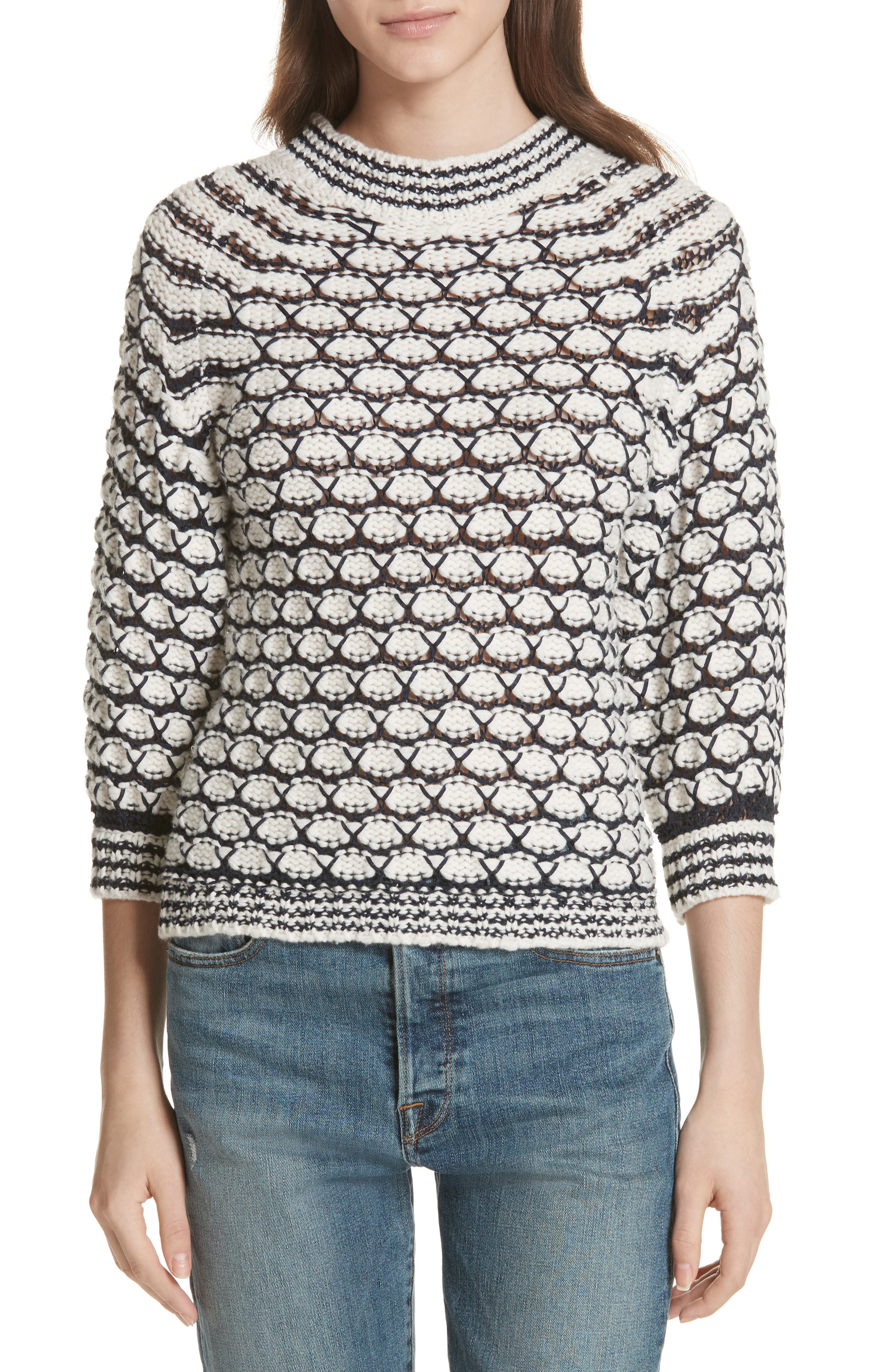 Lace Stitch Sweater,                             Main thumbnail 1, color,                             Cream/ Midnight Navy