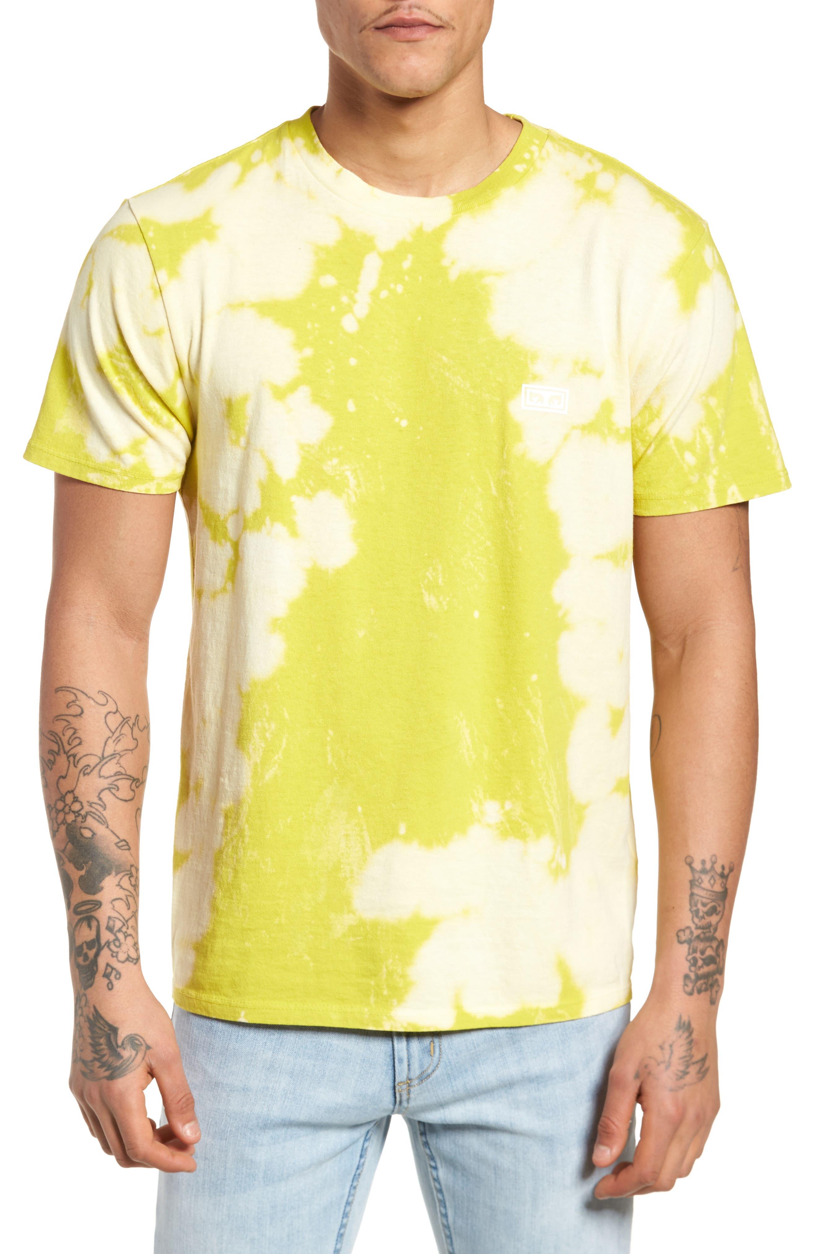 Jumble Lo-Fi Bleach Tie Dye T-Shirt,                         Main,                         color, Safety Green