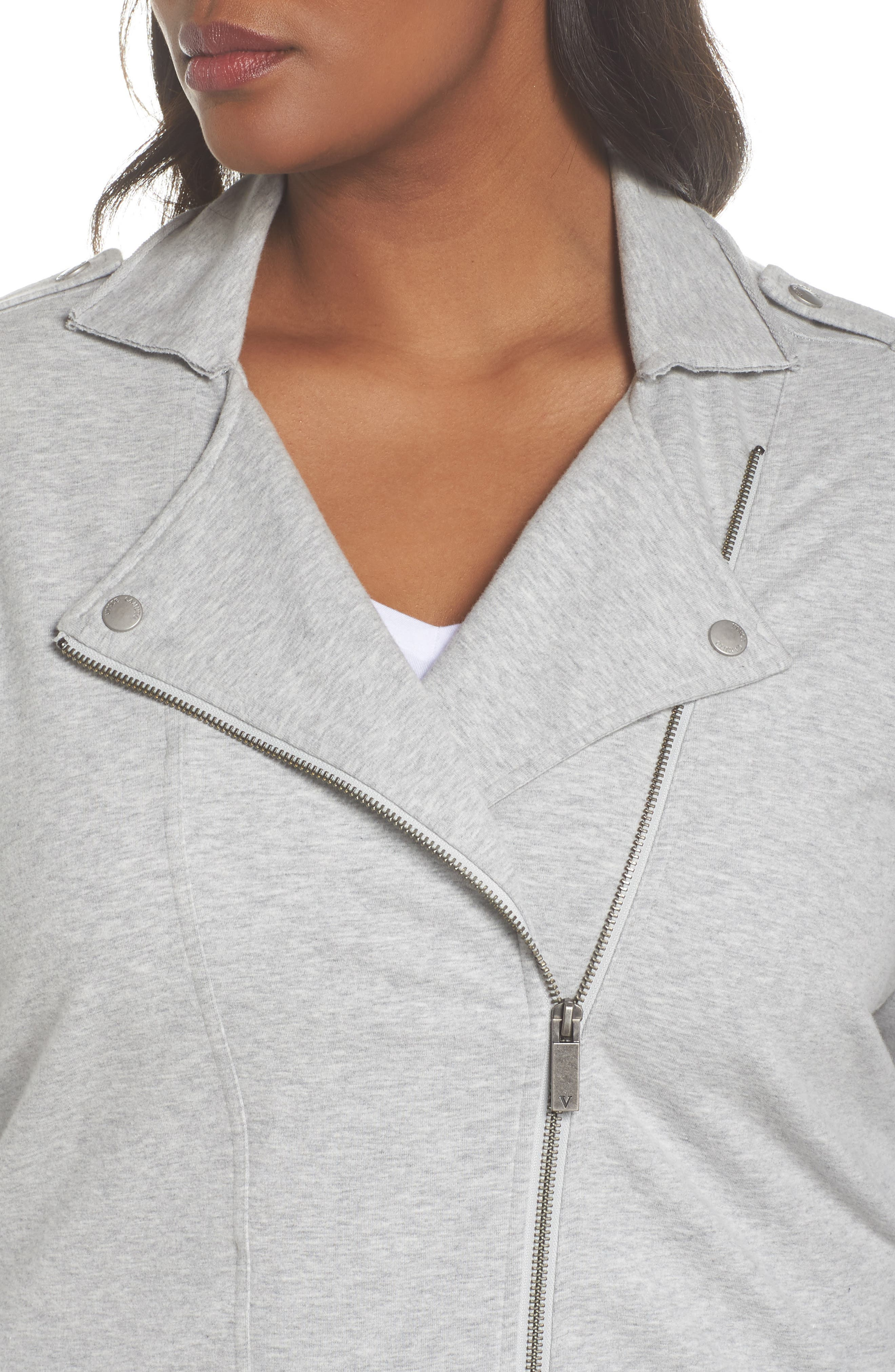 French Terry Moto Jacket,                             Alternate thumbnail 4, color,                             Grey Hthr