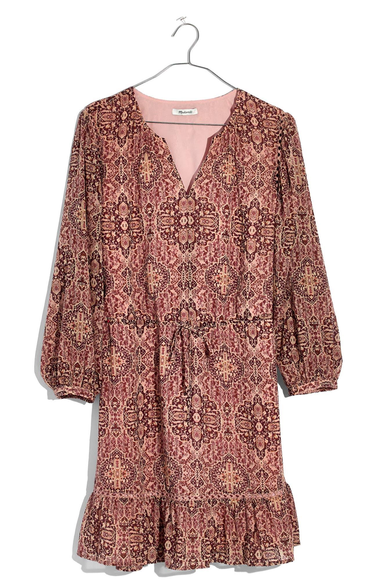 Drawstring Peasant Dress,                             Alternate thumbnail 3, color,                             Gentle Blush