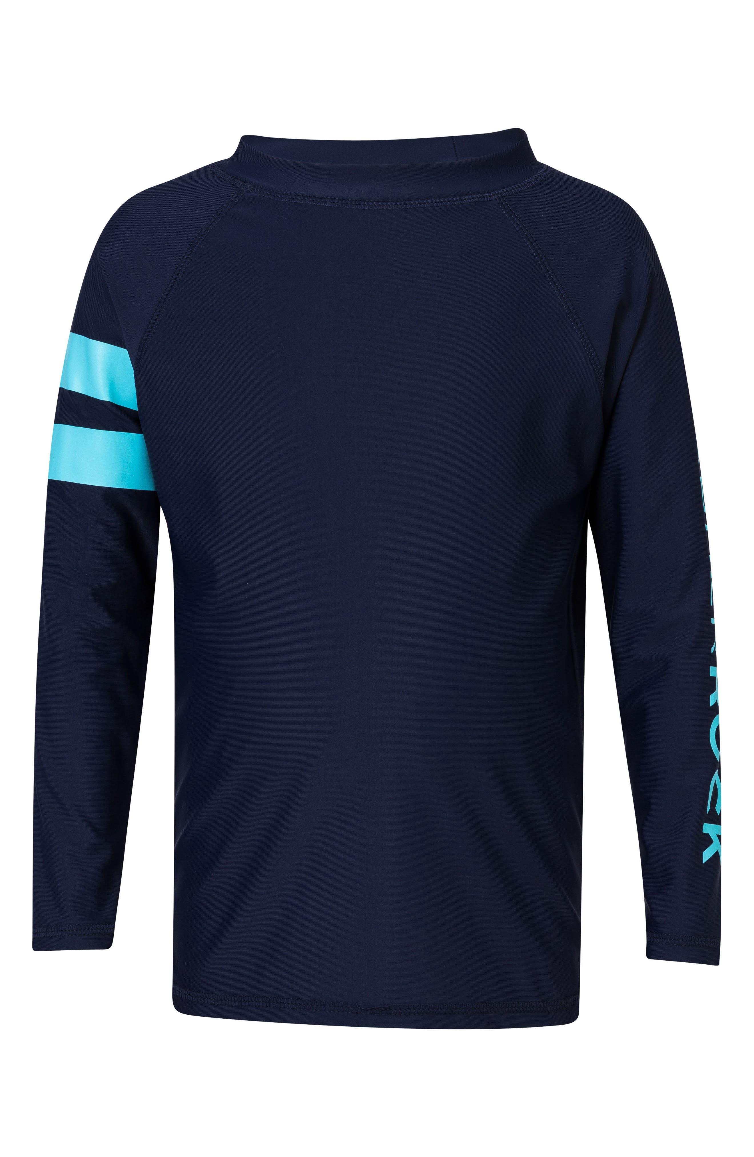 Raglan Long Sleeve Rashguard,                             Main thumbnail 1, color,                             Navy/ Light Blue Stripe