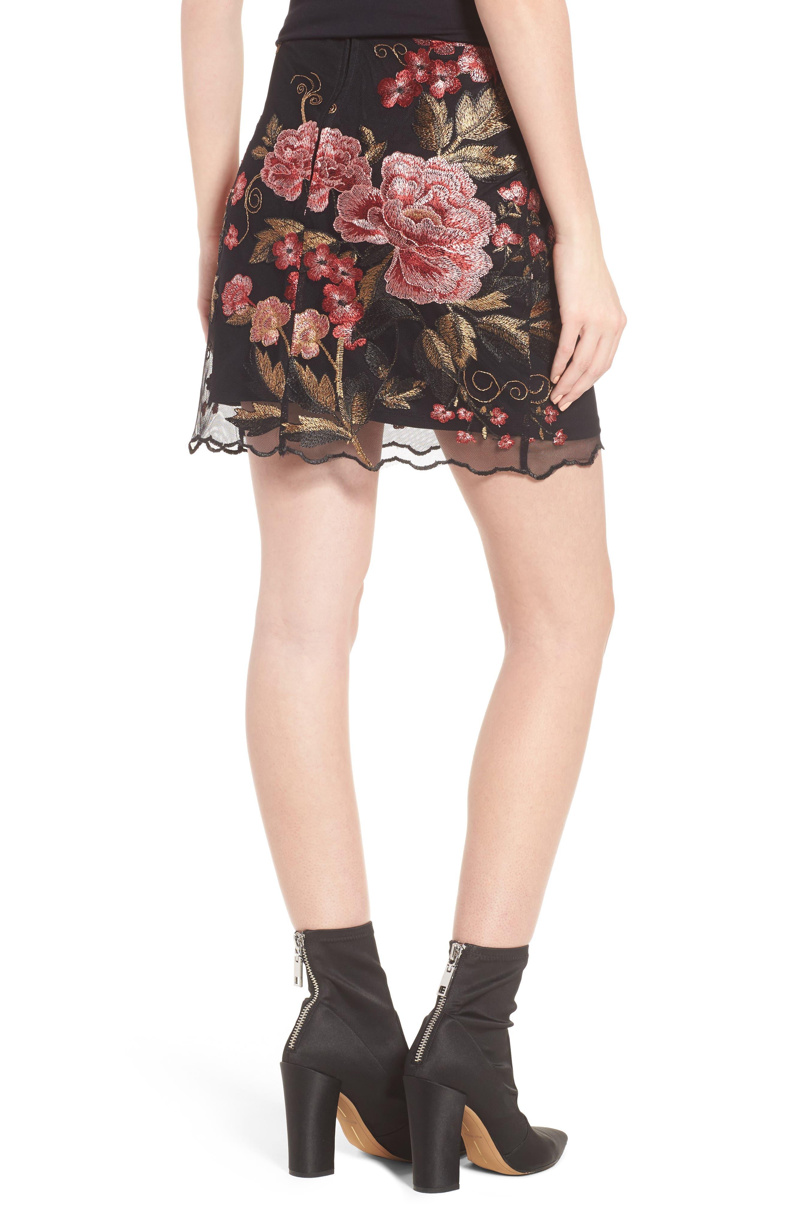 Sunset Embroidered Skirt,                             Alternate thumbnail 3, color,                             Black/ Rose