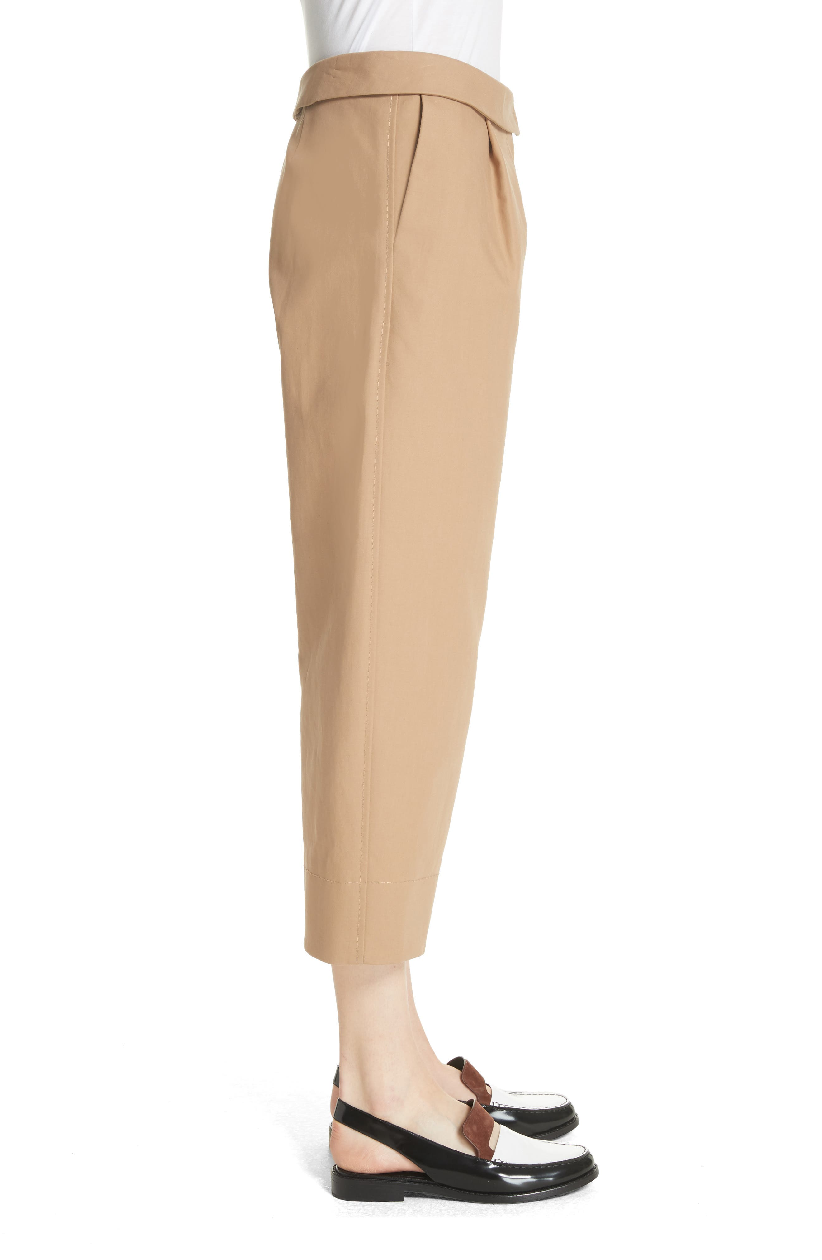 Cotton Crop Pants,                             Alternate thumbnail 3, color,                             Camel