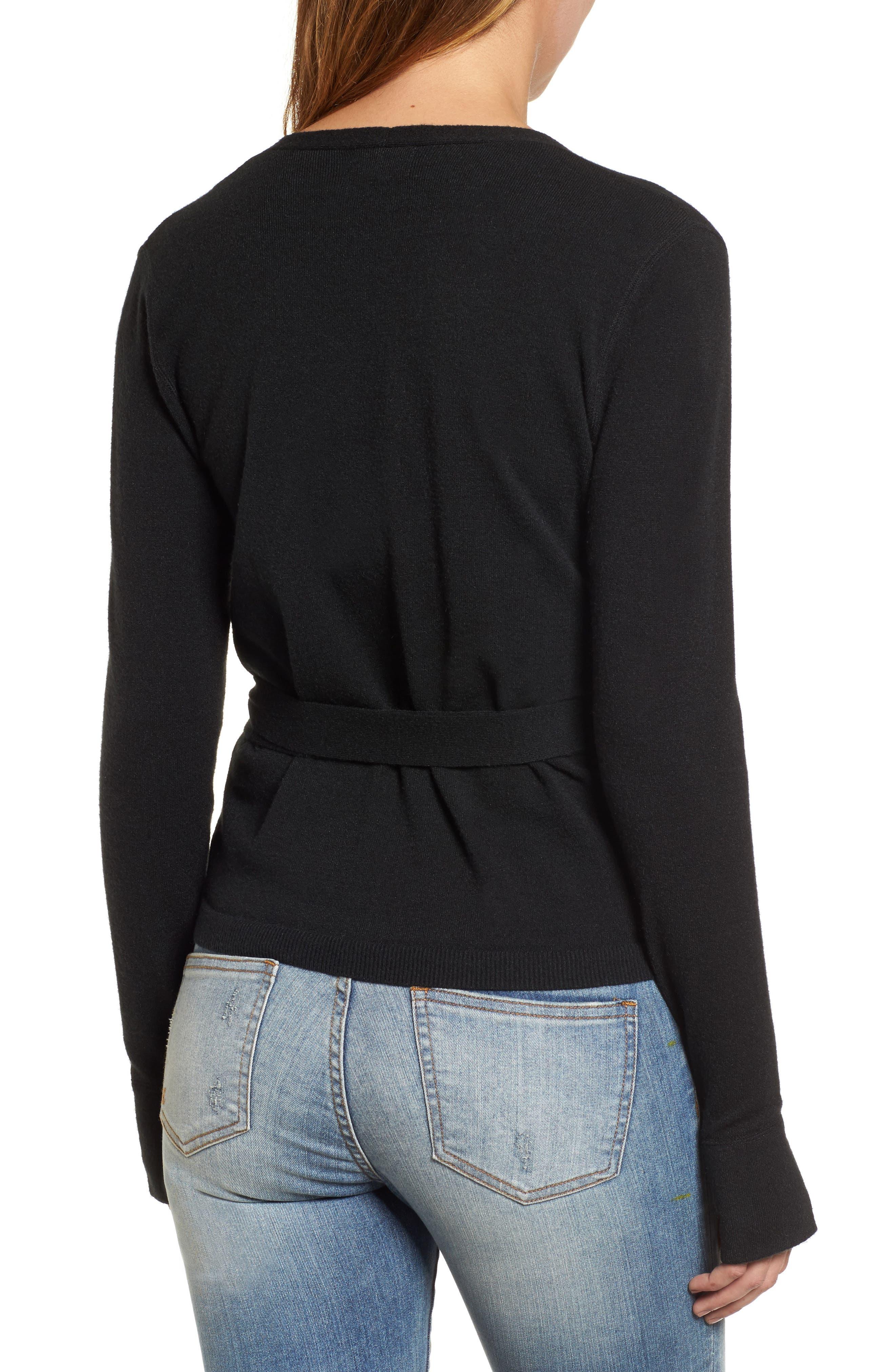 Off-Duty Ballet Tie Front Sweater,                             Alternate thumbnail 2, color,                             Black