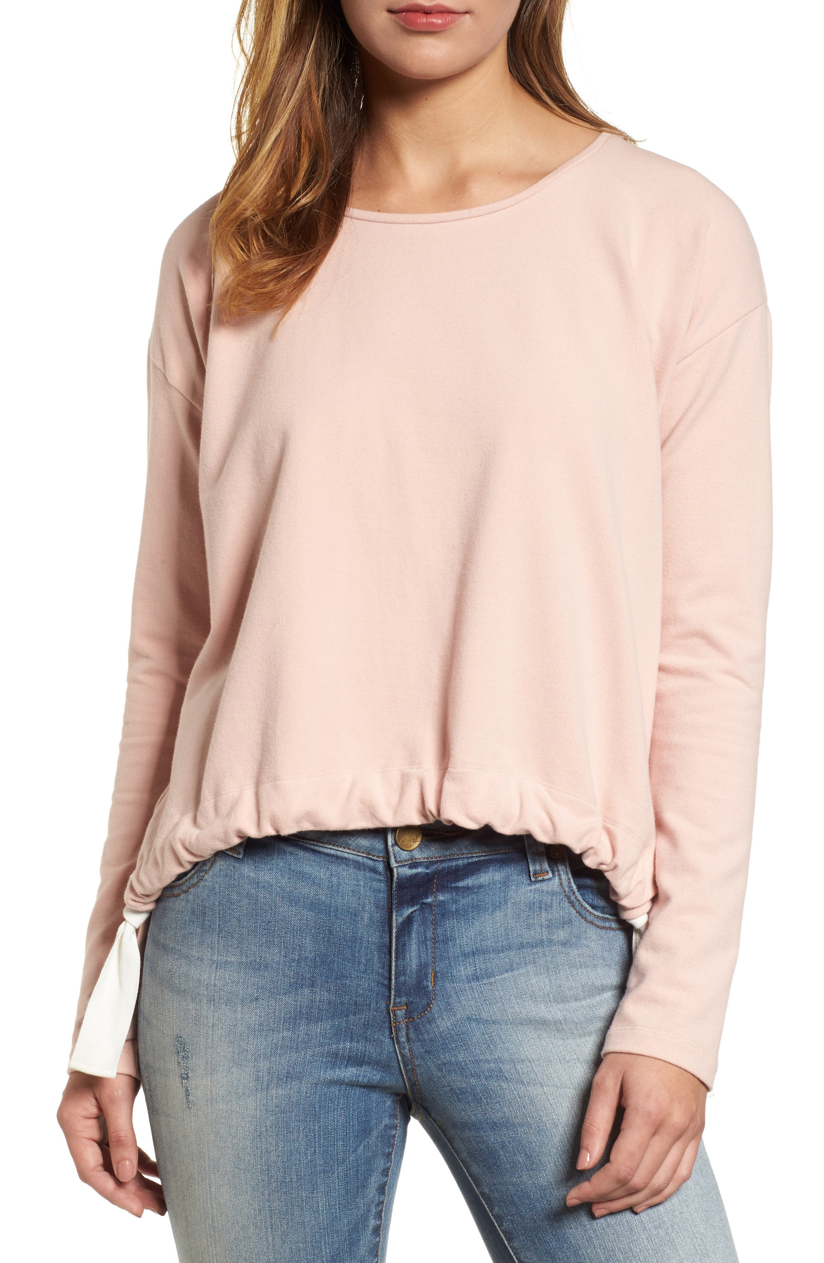 French Terry Drawstring Front Top,                         Main,                         color, Wild Rose