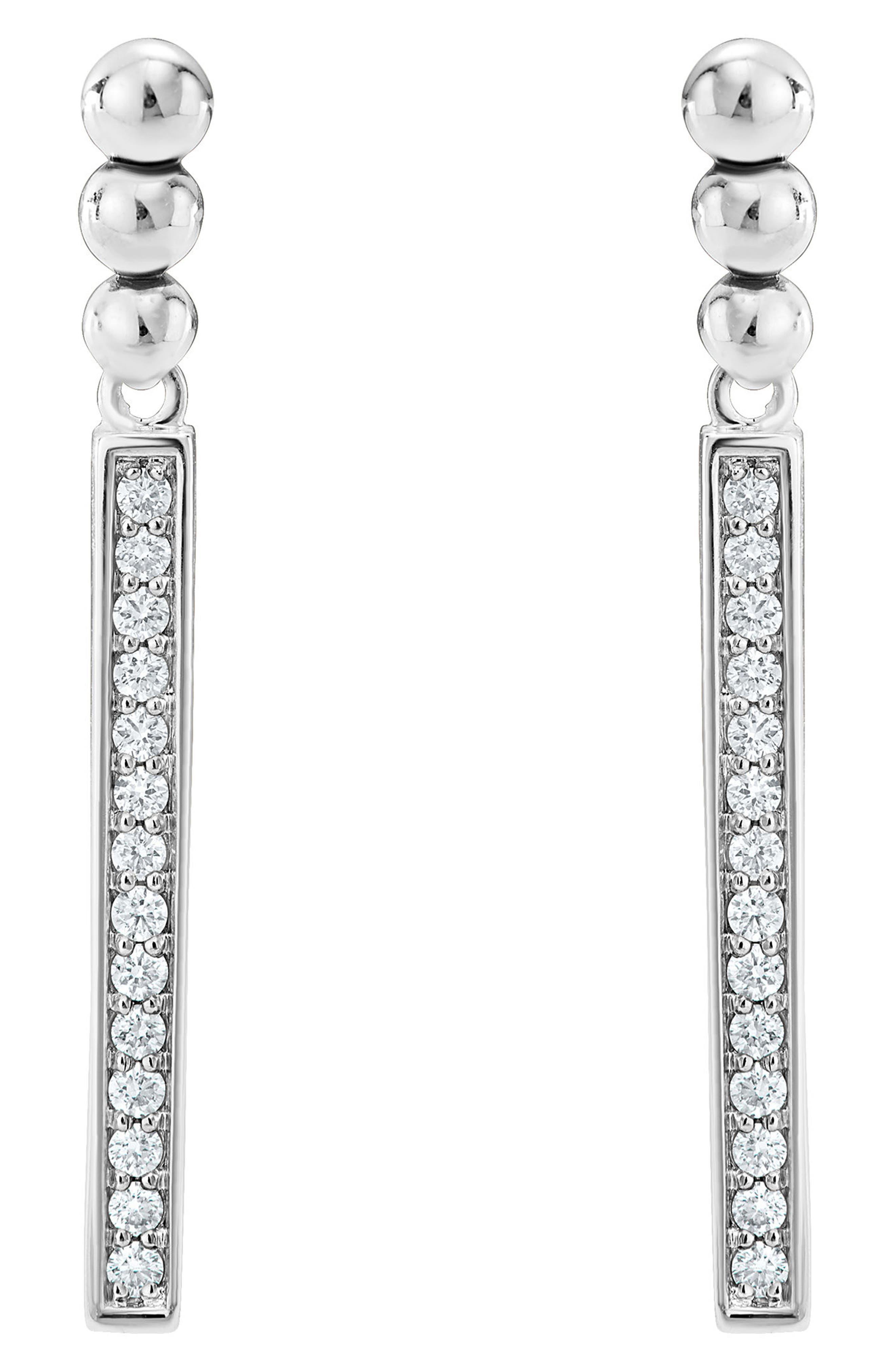 Caviar Spark Diamond Drop Earrings,                         Main,                         color, Silver/ Diamond