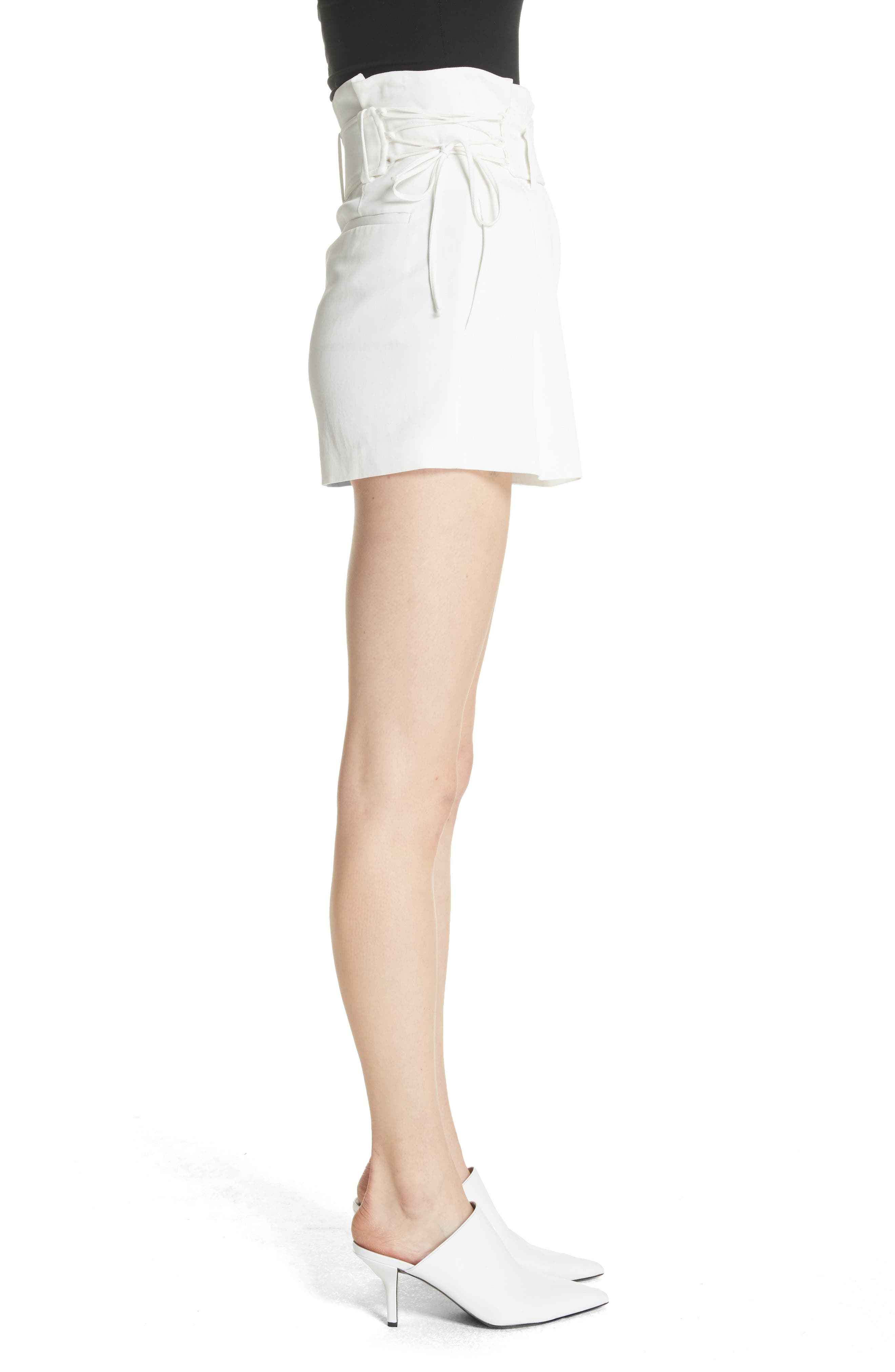 Lalora High Waist Lace-Up Shorts,                             Alternate thumbnail 3, color,                             White