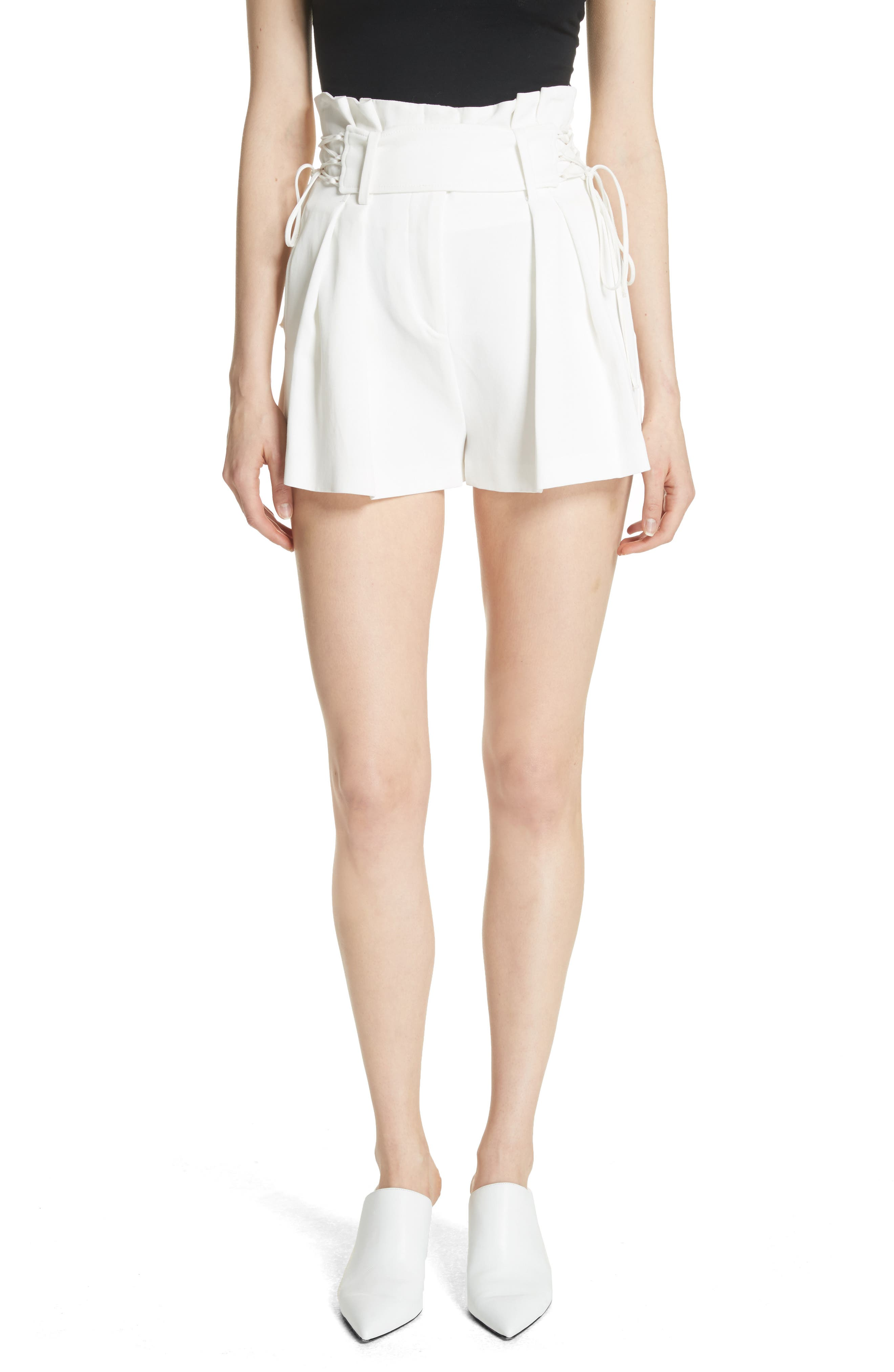 Lalora High Waist Lace-Up Shorts,                         Main,                         color, White