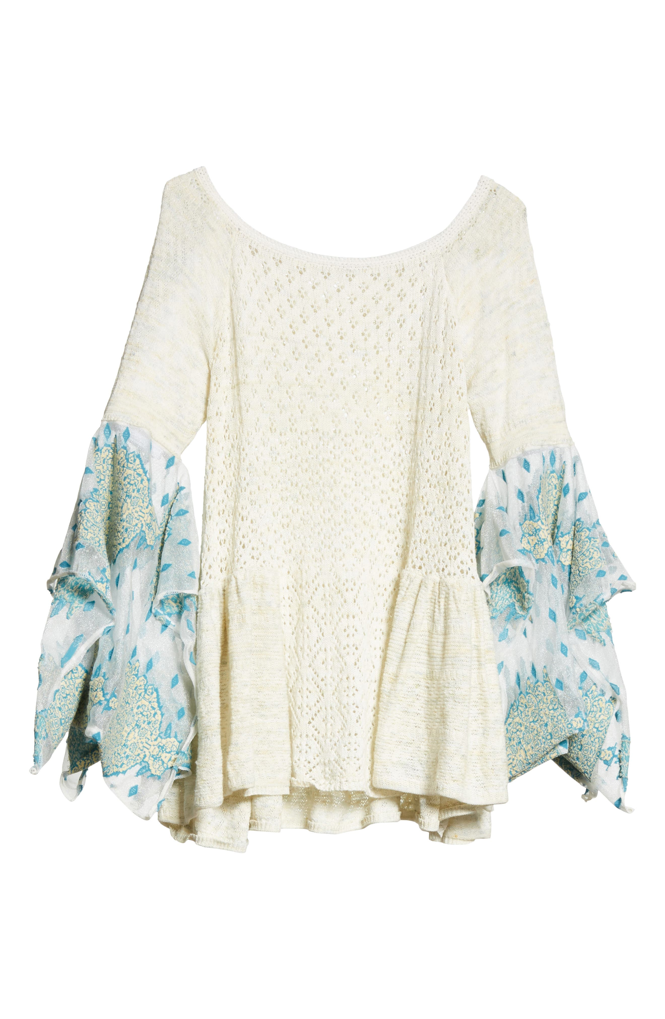 Pointelle Breeze Bell Sleeve Top,                             Alternate thumbnail 6, color,                             Ivory Combo