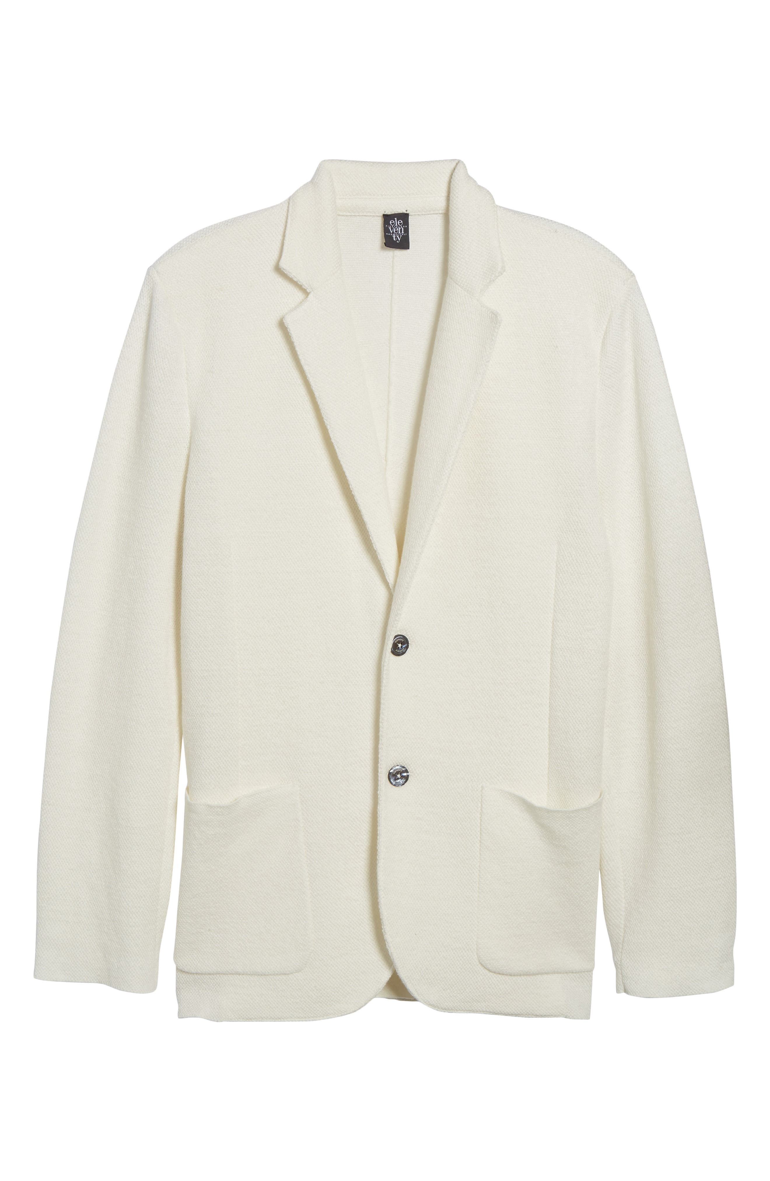 Slim Fit Linen Blend Sweater Jacket,                             Alternate thumbnail 6, color,                             Ivory