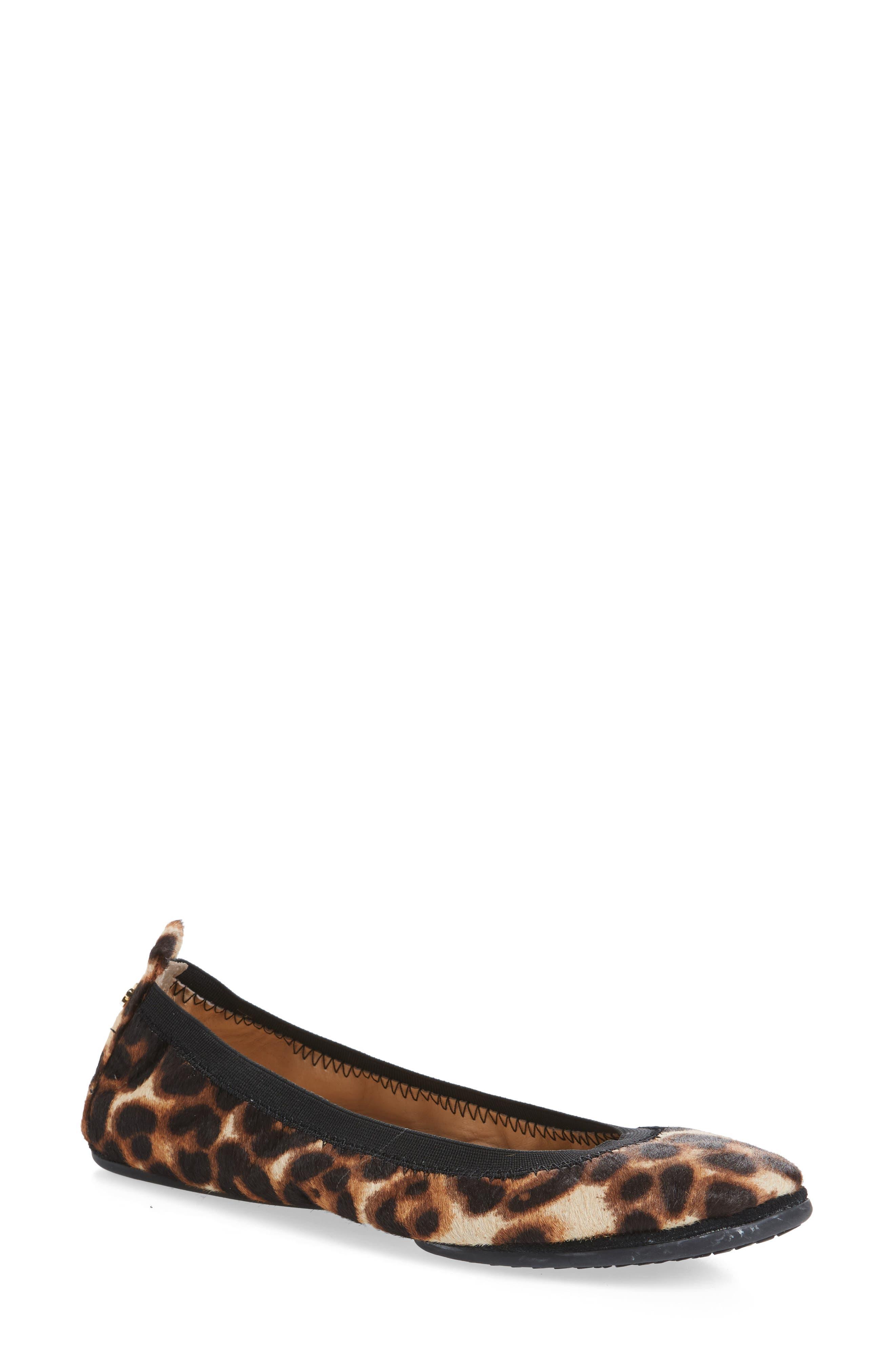 Samara Foldable Ballet Flat,                             Main thumbnail 1, color,                             Natural Leopard Calf Hair