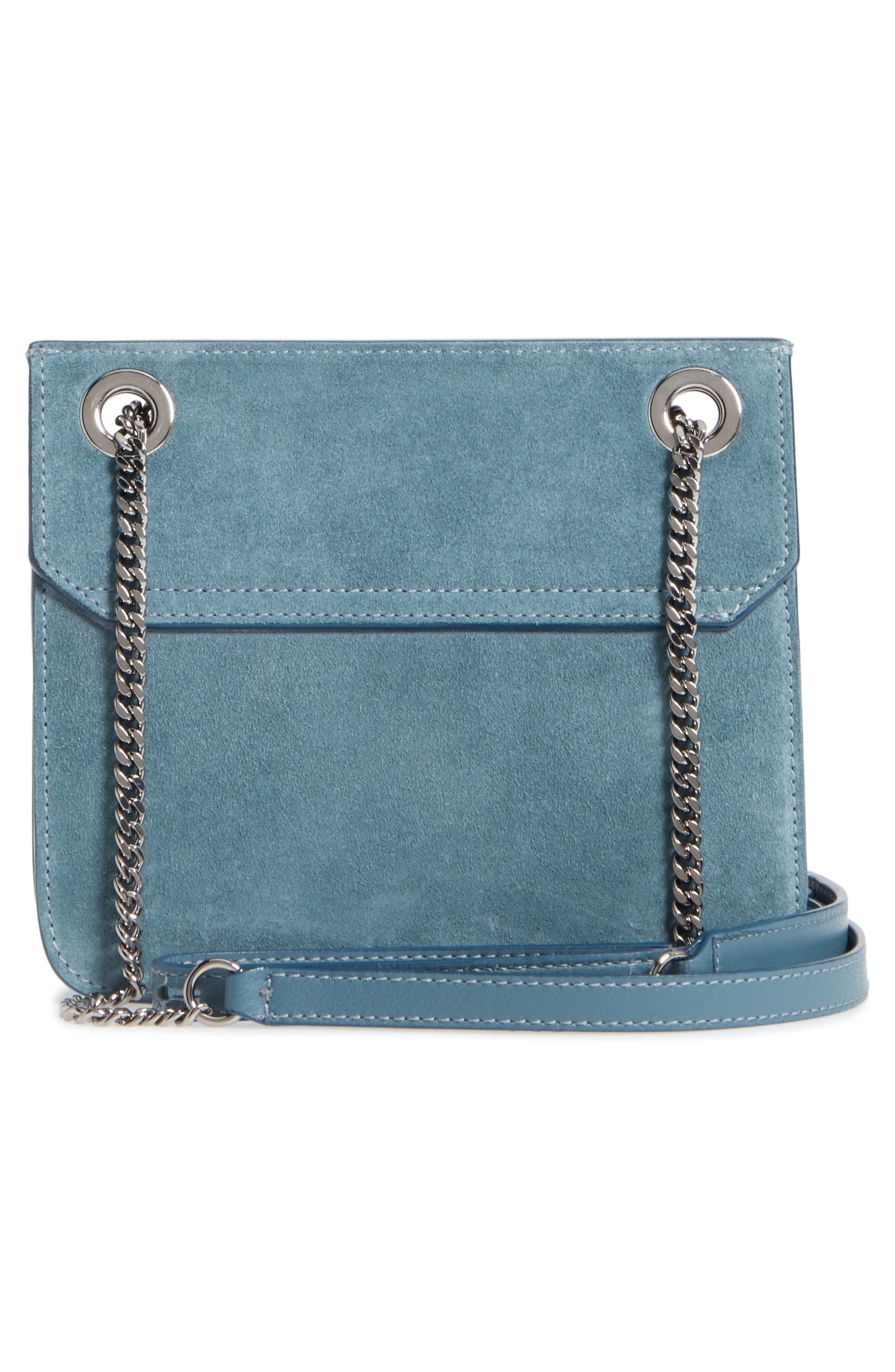 Rebel Suede Crossbody Bag,                             Alternate thumbnail 3, color,                             Dusk Blue