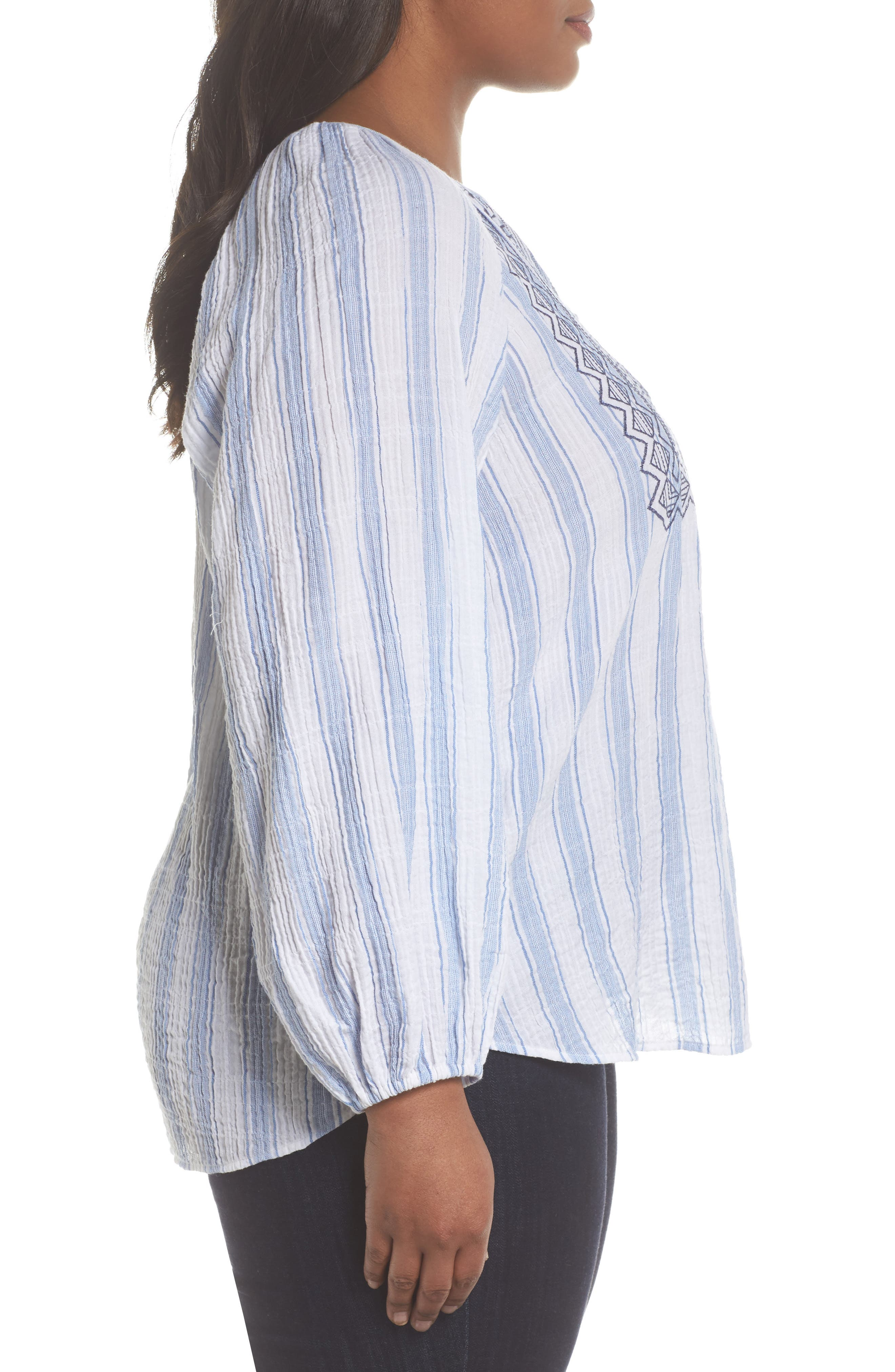 Embroidered Stripe Top,                             Alternate thumbnail 3, color,                             Patina Blue