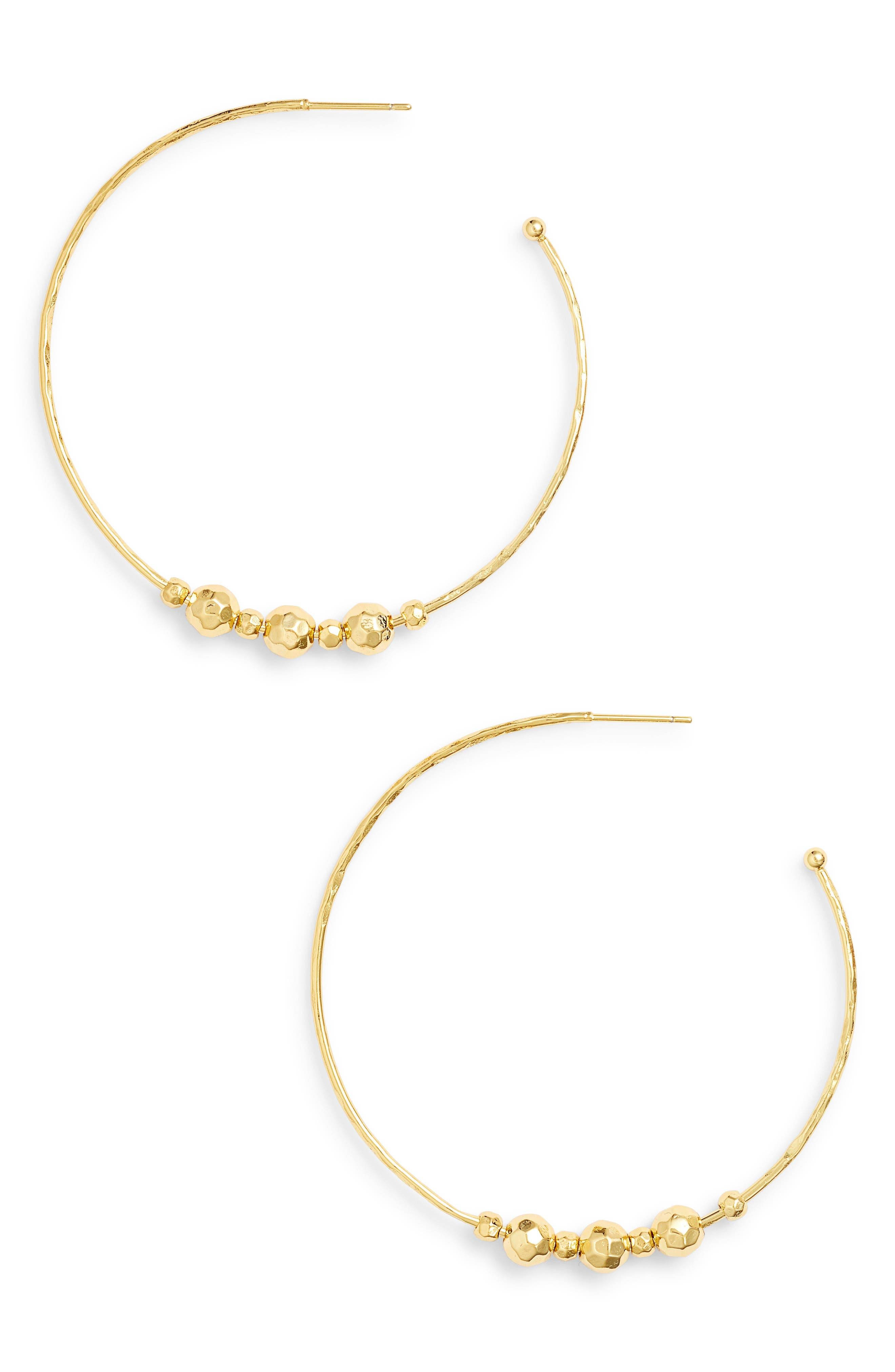 Taner Bead Hoop Earrings,                         Main,                         color, Gold