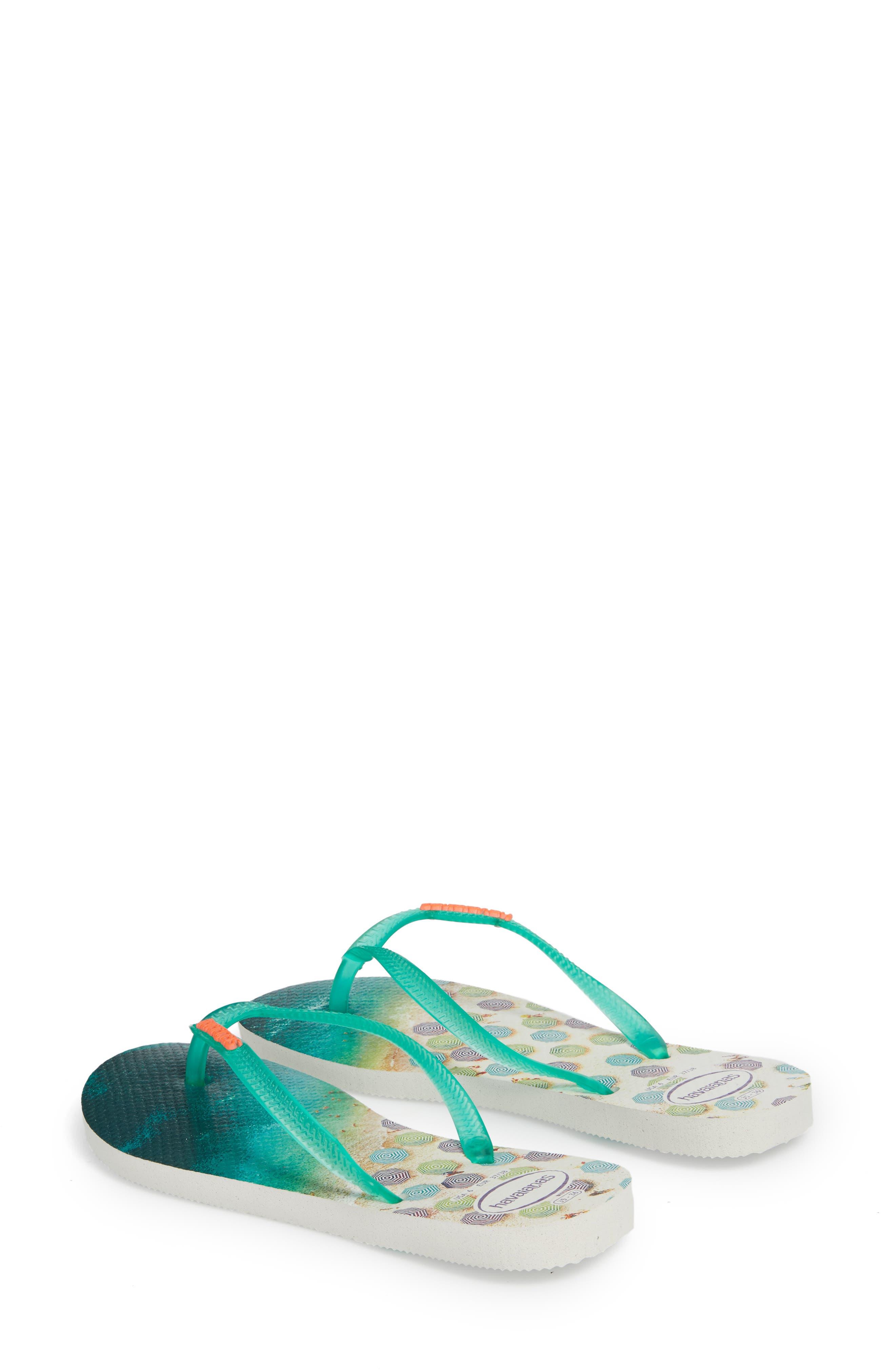 'Slim Paisage' Flip Flop,                             Alternate thumbnail 2, color,                             White/ Mint Green