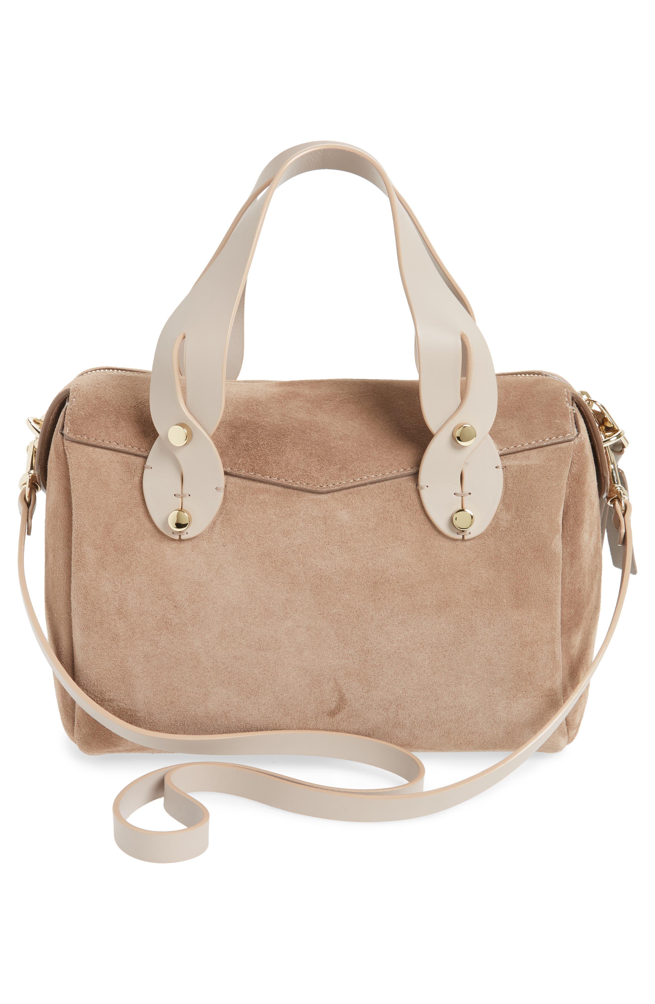 Small Allie Nappa Leather Bowling Bag,                             Alternate thumbnail 3, color,                             Light Mocha