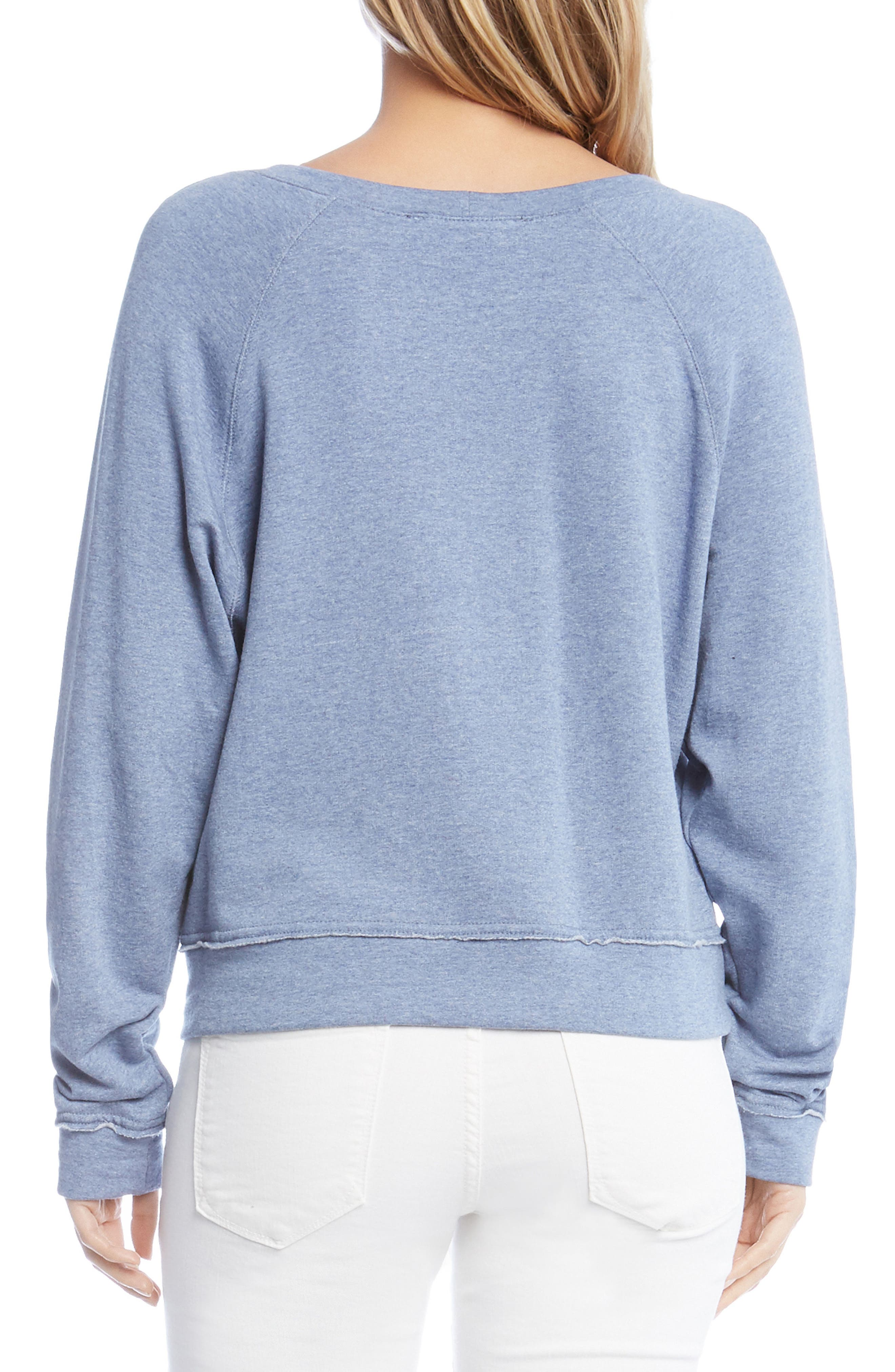 Raw Seam Pullover Top,                             Alternate thumbnail 2, color,                             Chambray