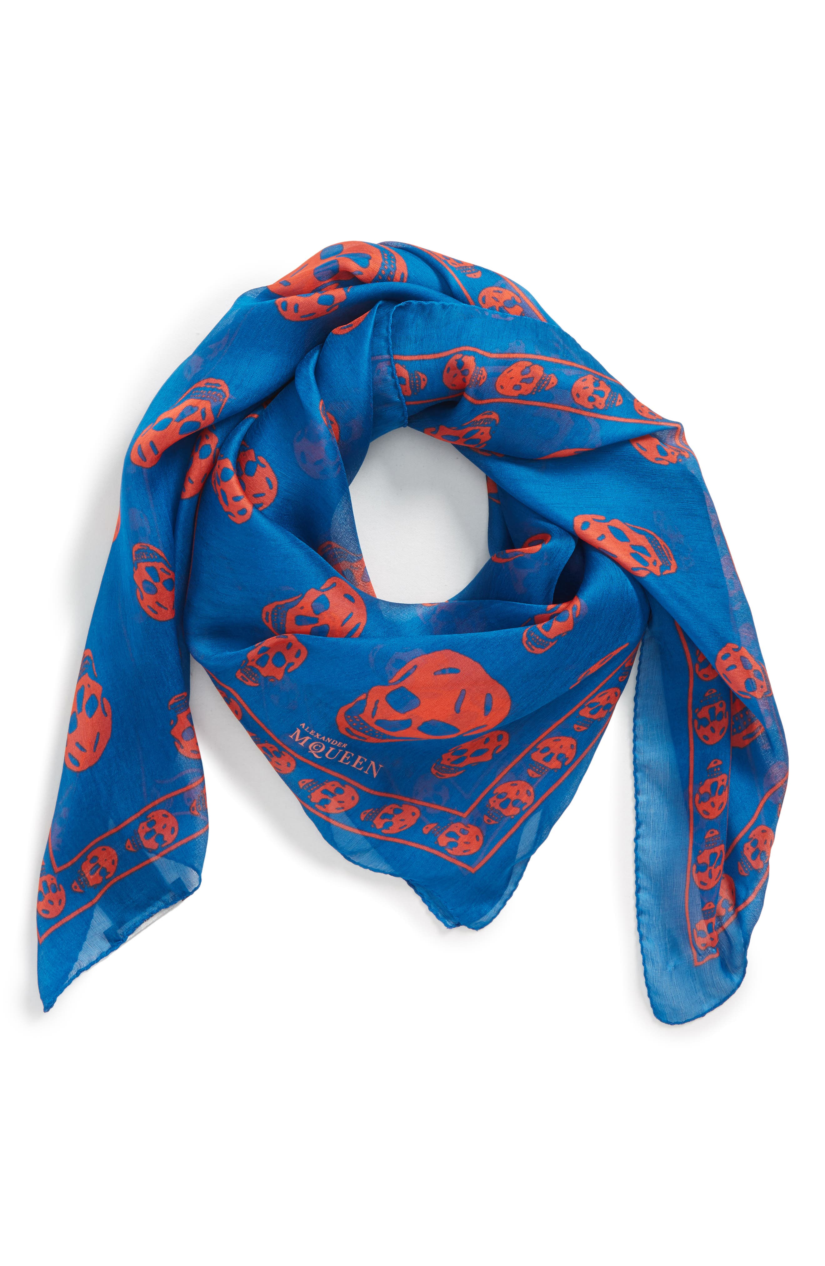 'Skull' Chiffon Scarf,                             Alternate thumbnail 2, color,                             Pacific Blue