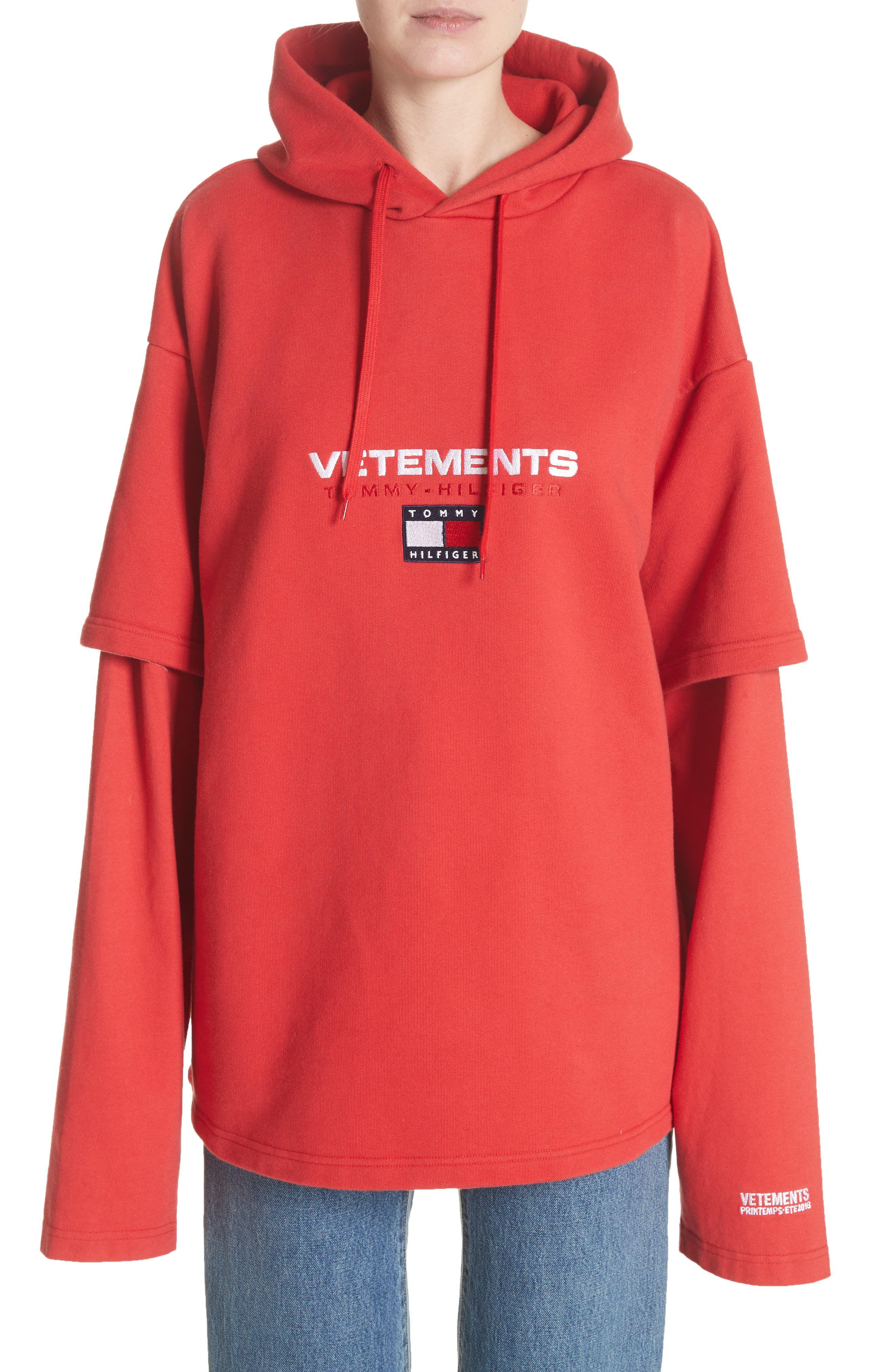 Tommy Hilfiger Double Sleeve Hoodie,                             Main thumbnail 1, color,                             Red