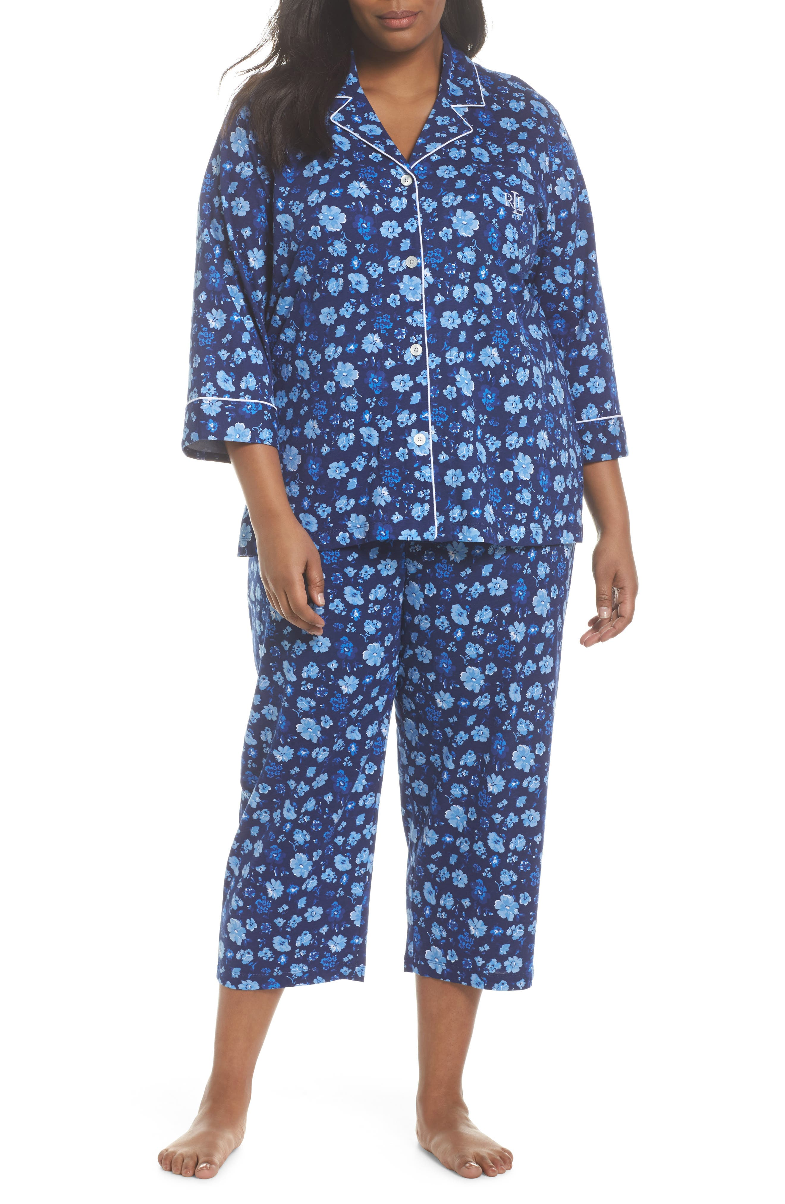 Crop Pajamas,                             Main thumbnail 1, color,                             Blue Floral