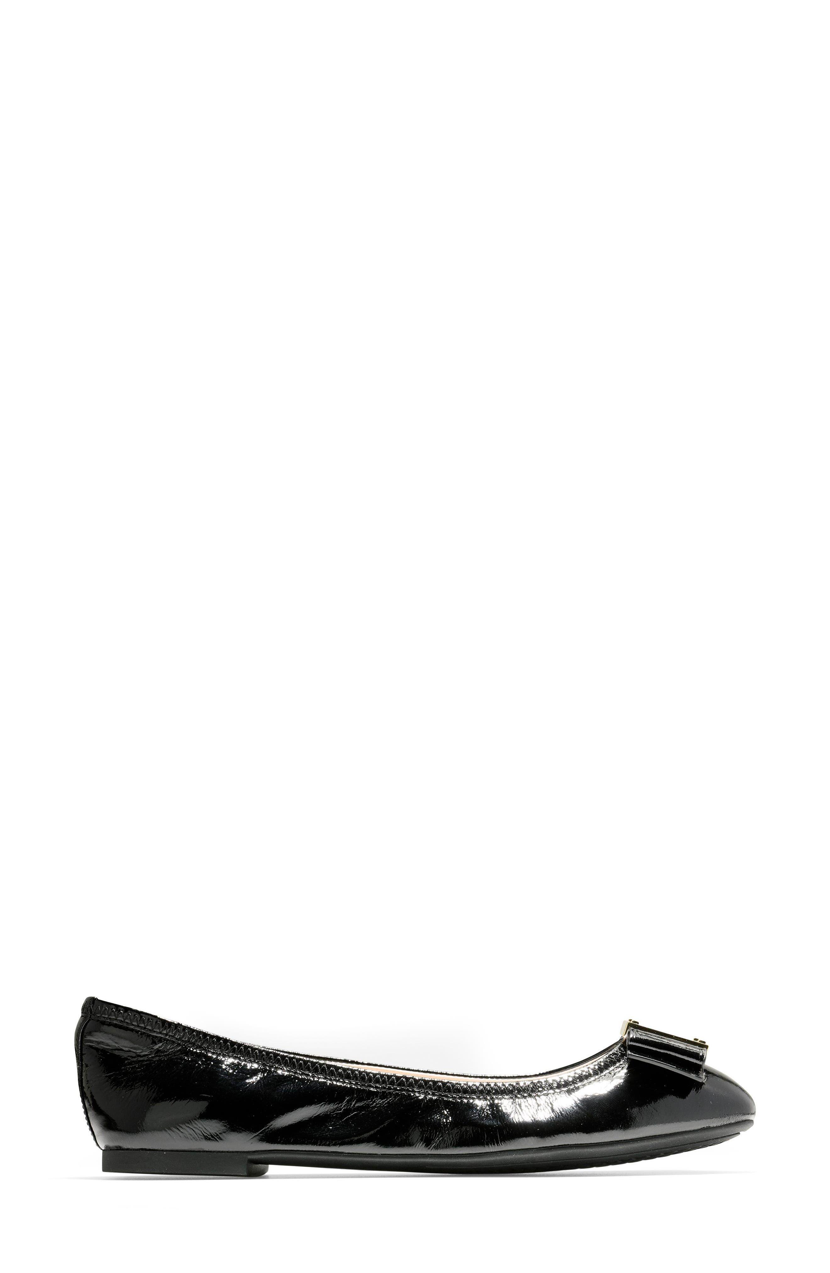 Tali Modern Bow Ballet Flat,                             Alternate thumbnail 3, color,                             Black Patent